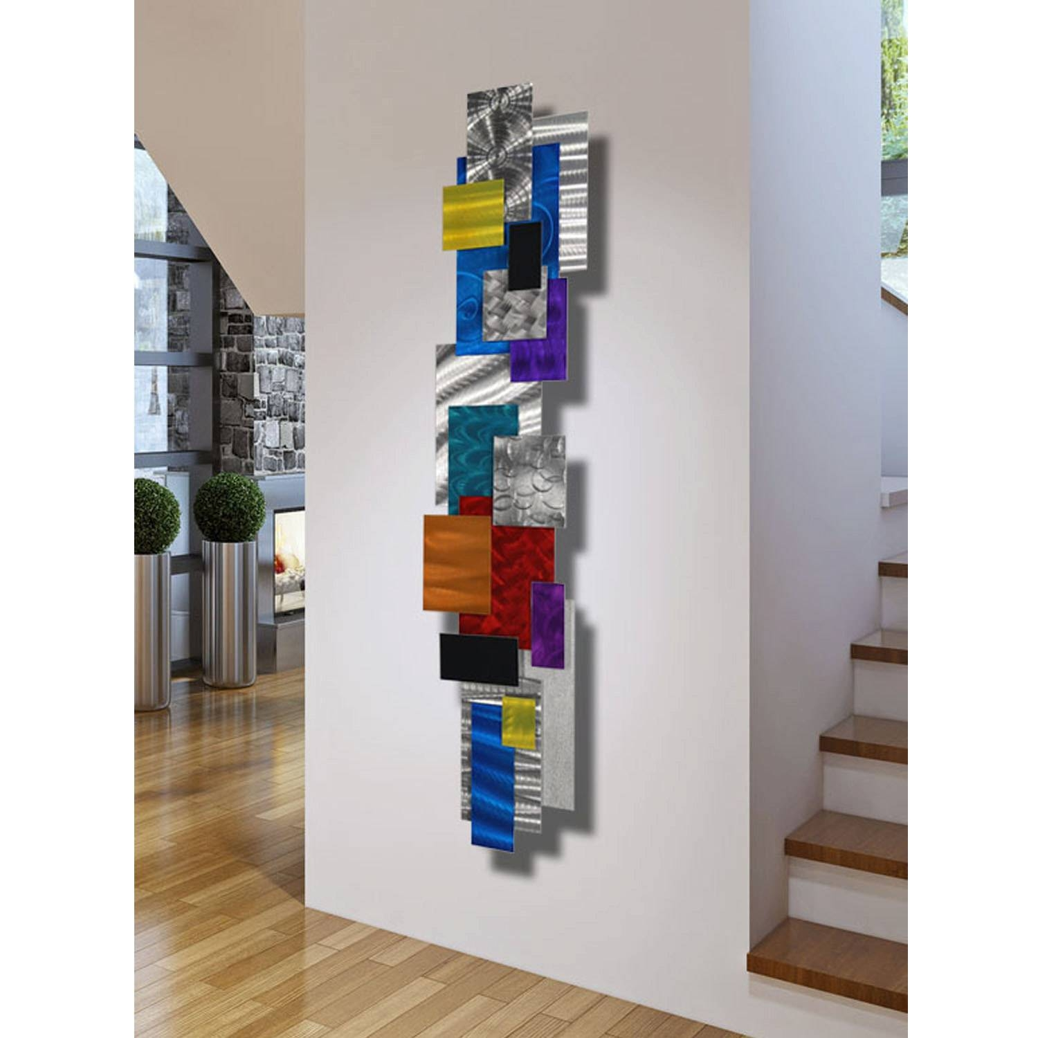 Large Contemporary Geometric Metal Wall Decor Multi Color Regarding Best And Newest Multi Color Metal Wall Art (View 6 of 20)