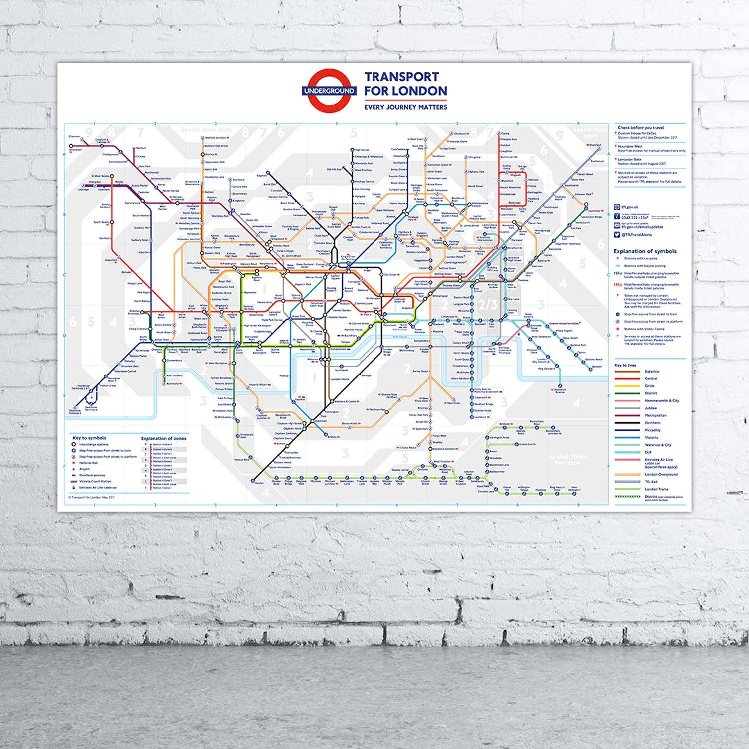 Large Format London Underground Tube Map Poster Print Wall Art With Most Current Tube Map Wall Art (View 10 of 20)