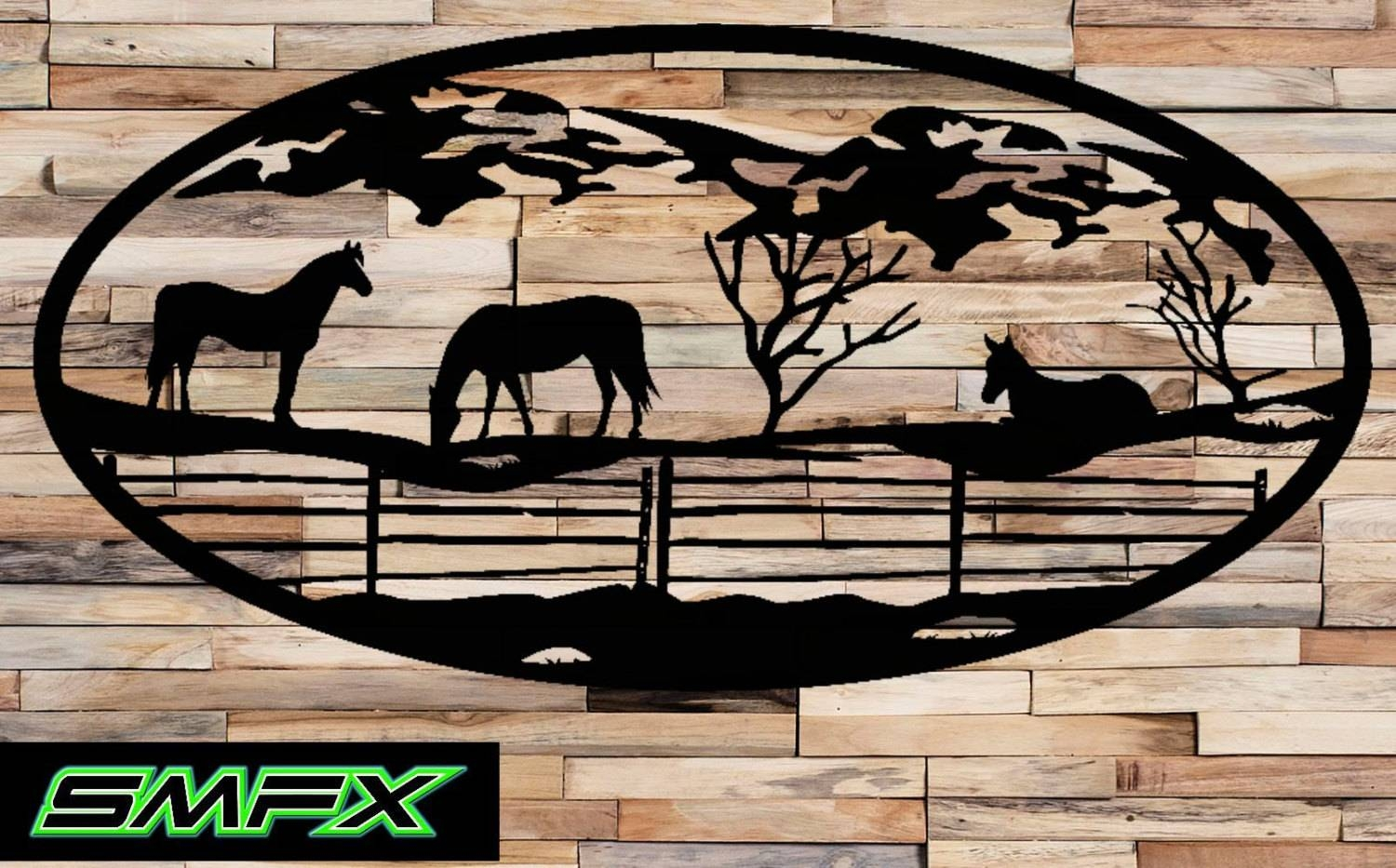 Large Horse Scene Metal Wall Art Oval Insert 15 For Newest Horses Metal Wall Art (View 9 of 20)