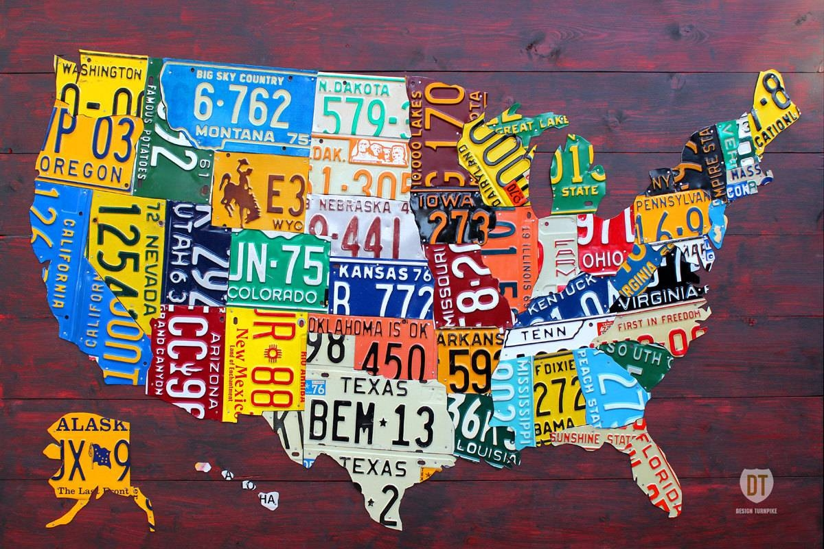 Large License Plate Map Of The United States 48 X For Recent License Plate Map Wall Art (View 10 of 20)