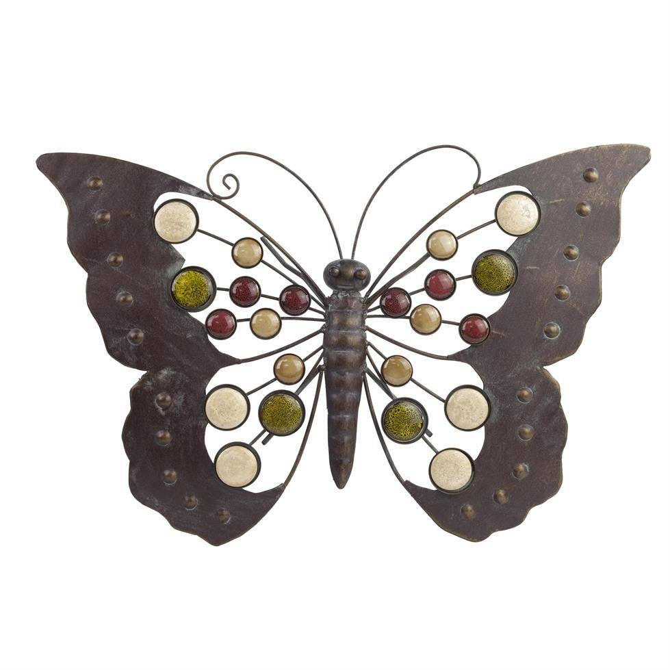 Large Metal Butterfly Wall Art Ornament With Decorative Stones For 2018 Butterflies Metal Wall Art (View 12 of 20)