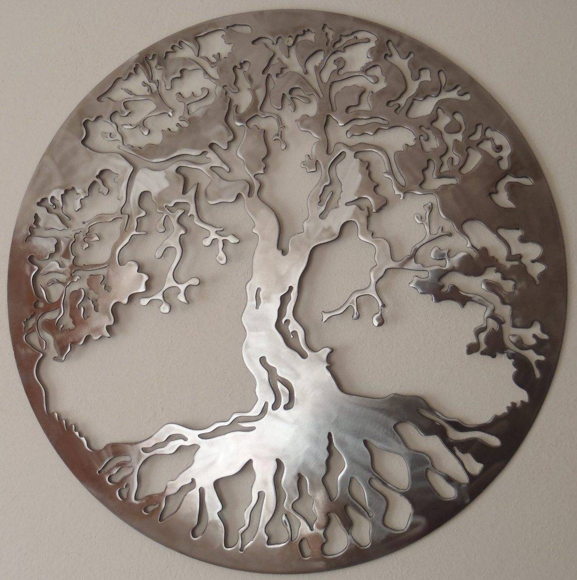 Large Metal Tree Wall Decor Wood Digs With Most Recent Round