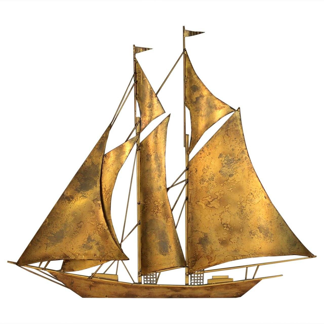 Large Sailboat Wall Sculpturewiley At 1stdibs With Newest Metal Wall Art Ships (View 8 of 20)
