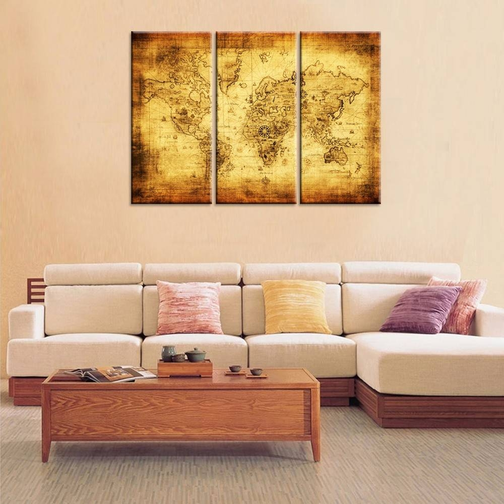 Large Size Old Map Canvas Print/retro World Map Canvas/3 Panels Pertaining To Most Up To Date Vintage World Map Wall Art (View 15 of 20)