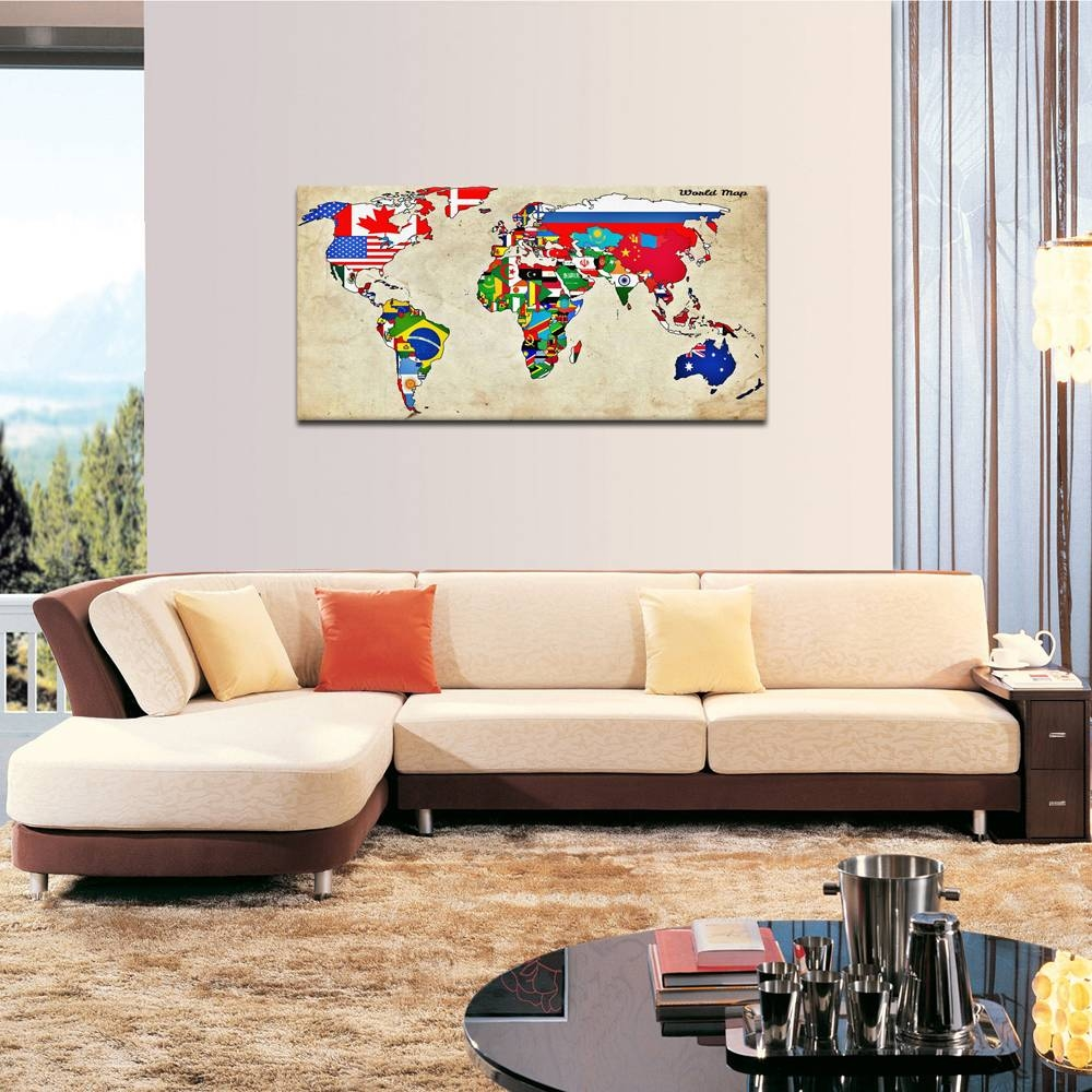 Large Size Wall Art World Map Painting On Canvas Prints National Pertaining To Best And Newest Vintage World Map Wall Art (View 17 of 20)