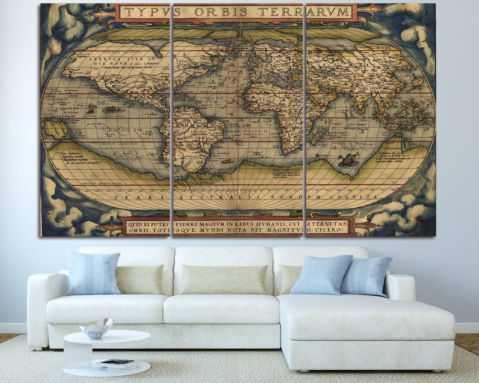 Large Vintage World Map 3 Panel Wall Art At Texelprintart Intended For Best And Newest Canvas Map Wall Art (View 9 of 20)