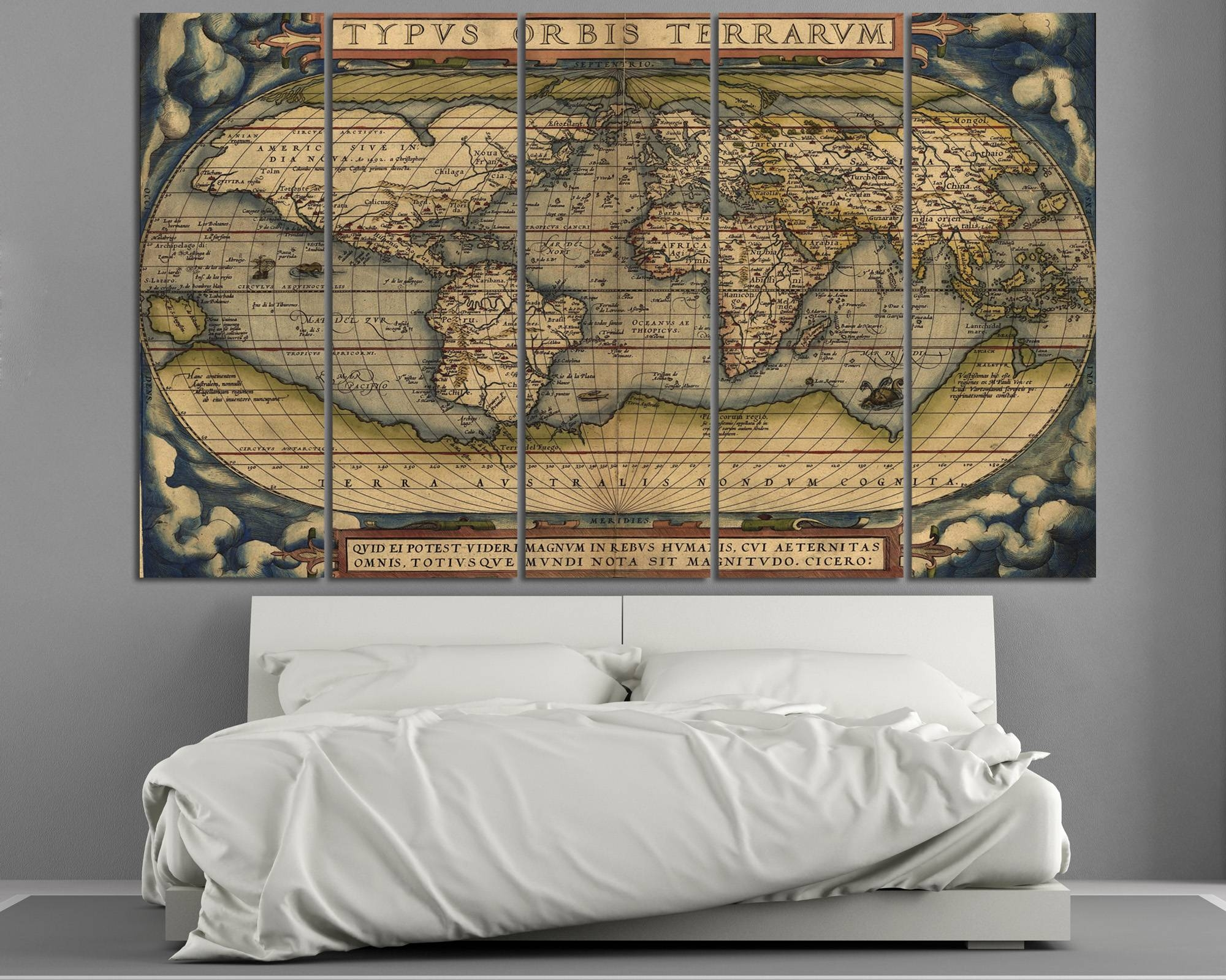 Large Vintage World Map 3 Panel Wall Art At Texelprintart Regarding Most Up To Date Old Map Wall Art (View 6 of 20)
