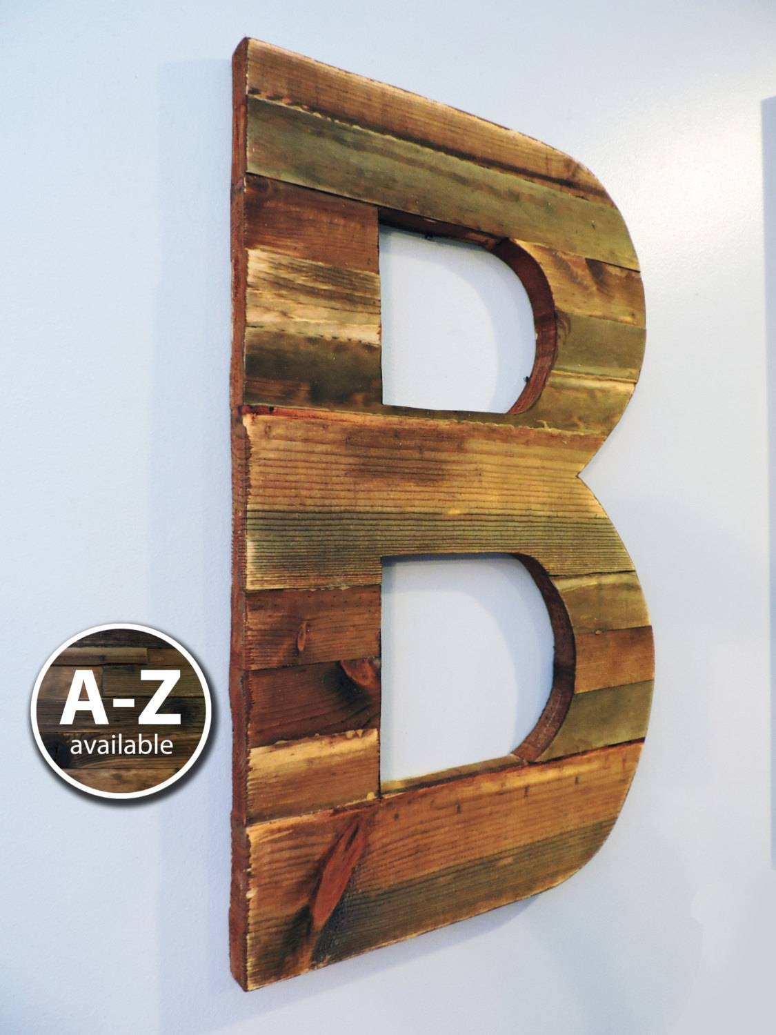 Large Wood Letters Rustic Letter Cutout Custom Wooden Wall For 2018 Metal Wall Art Letters (View 11 of 20)