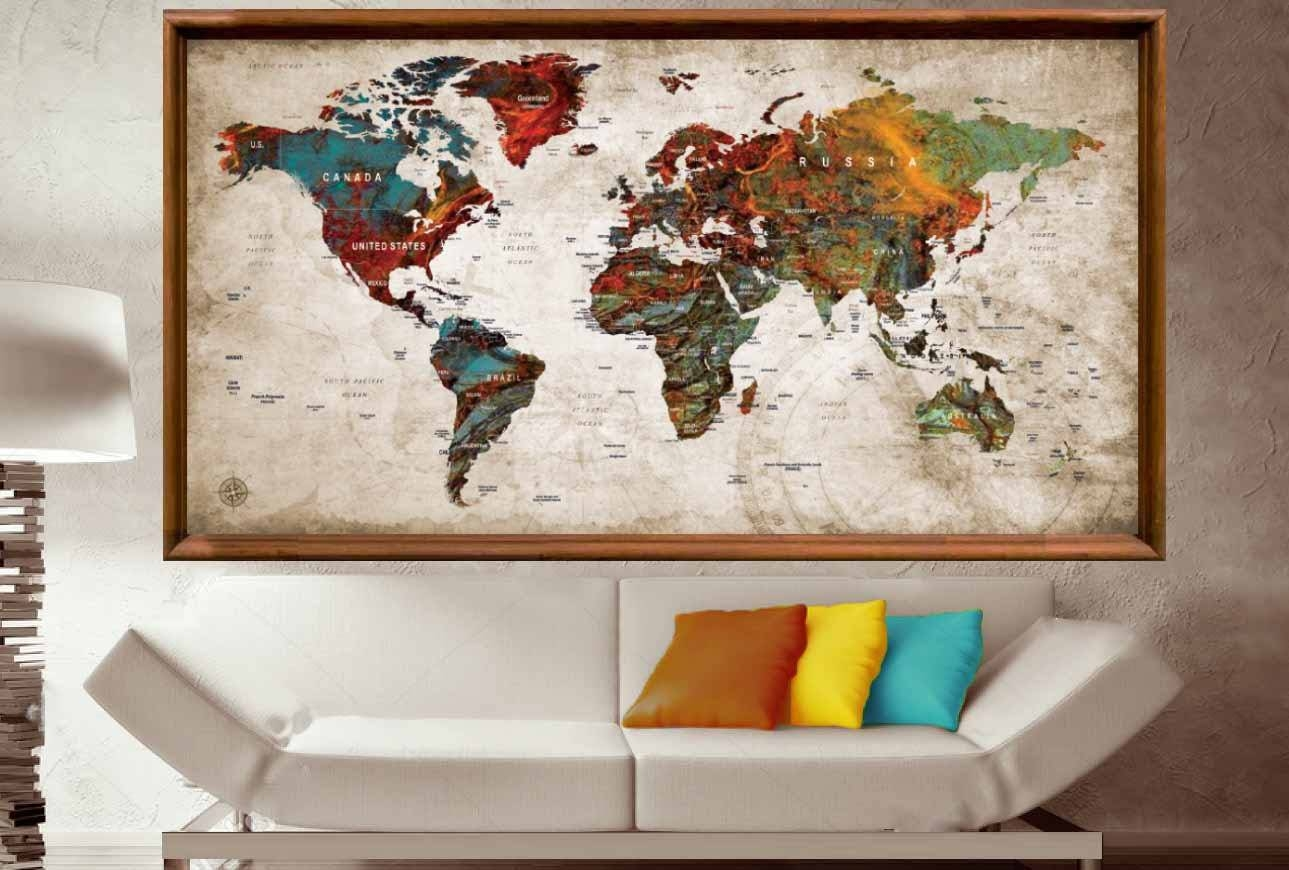 Large World Map Poster,world Map Wall Art,world Map Push Pin,push With Regard To 2018 Map Wall Art Canada (View 7 of 20)
