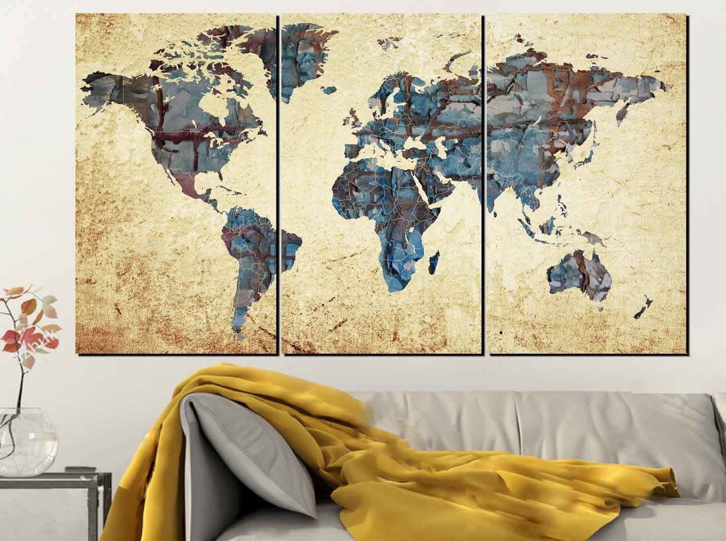 Large World Map,world Map Abstract, Map Wall Art, World Map Inside Current Abstract Map Wall Art (View 8 of 20)