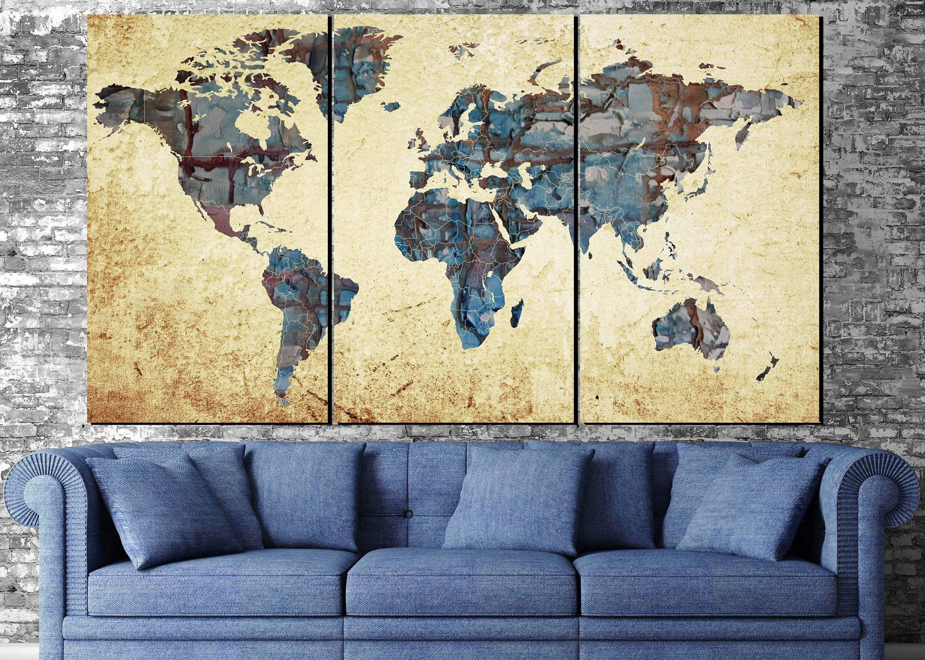 Large World Map,world Map Abstract, Map Wall Art, World Map Within Most Current Abstract Map Wall Art (View 4 of 20)