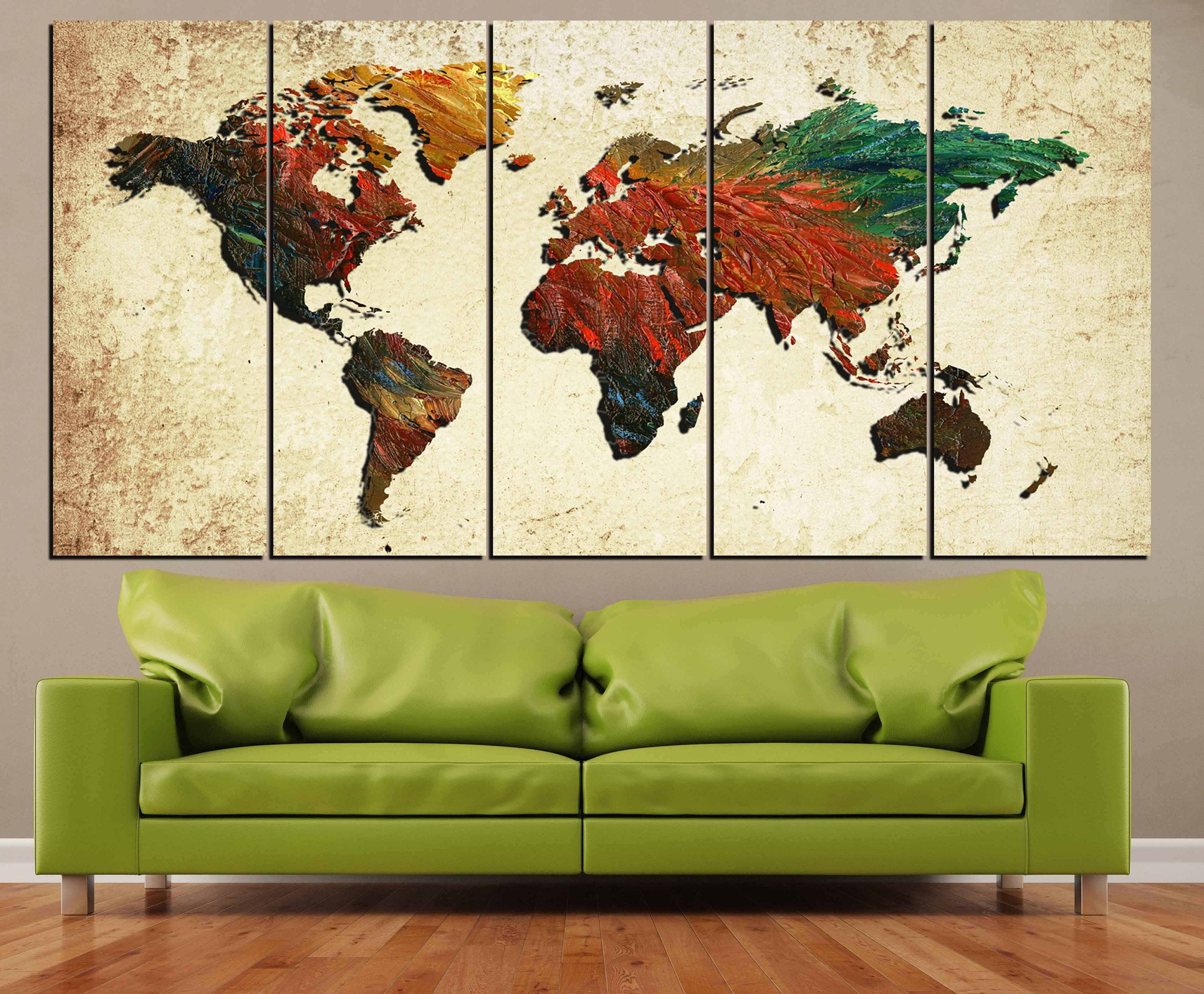 Large World Map,world Map, World Map Painting, Abstract Map Wall Intended For Most Up To Date World Map Wall Artwork (View 18 of 20)