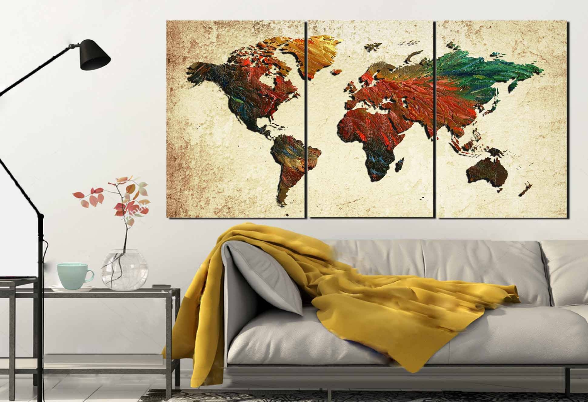 Large World Map,world Map, World Map Painting, Abstract Map Wall Intended For Newest Map Wall Art Prints (View 11 of 20)
