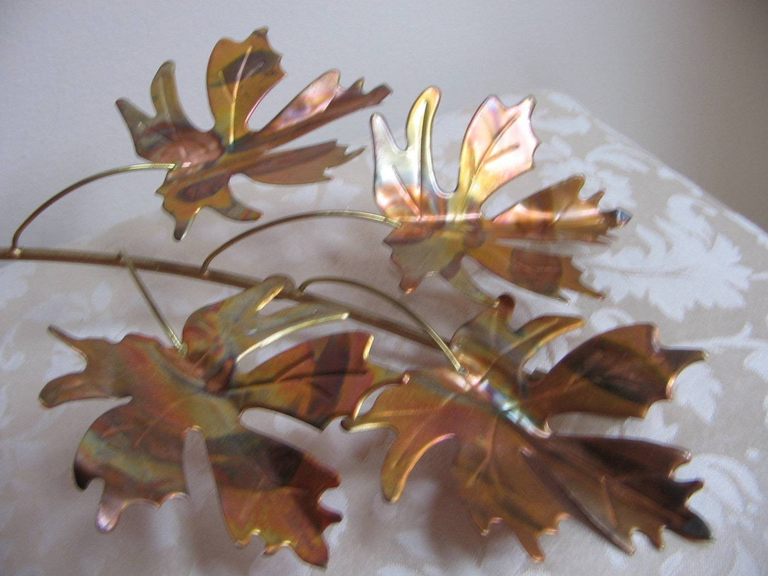 Leaf Metal Wall Decor With Vintage Metal Leaves Wall Art Copper Pertaining To Most Popular Vintage Metal Wall Art (View 8 of 20)