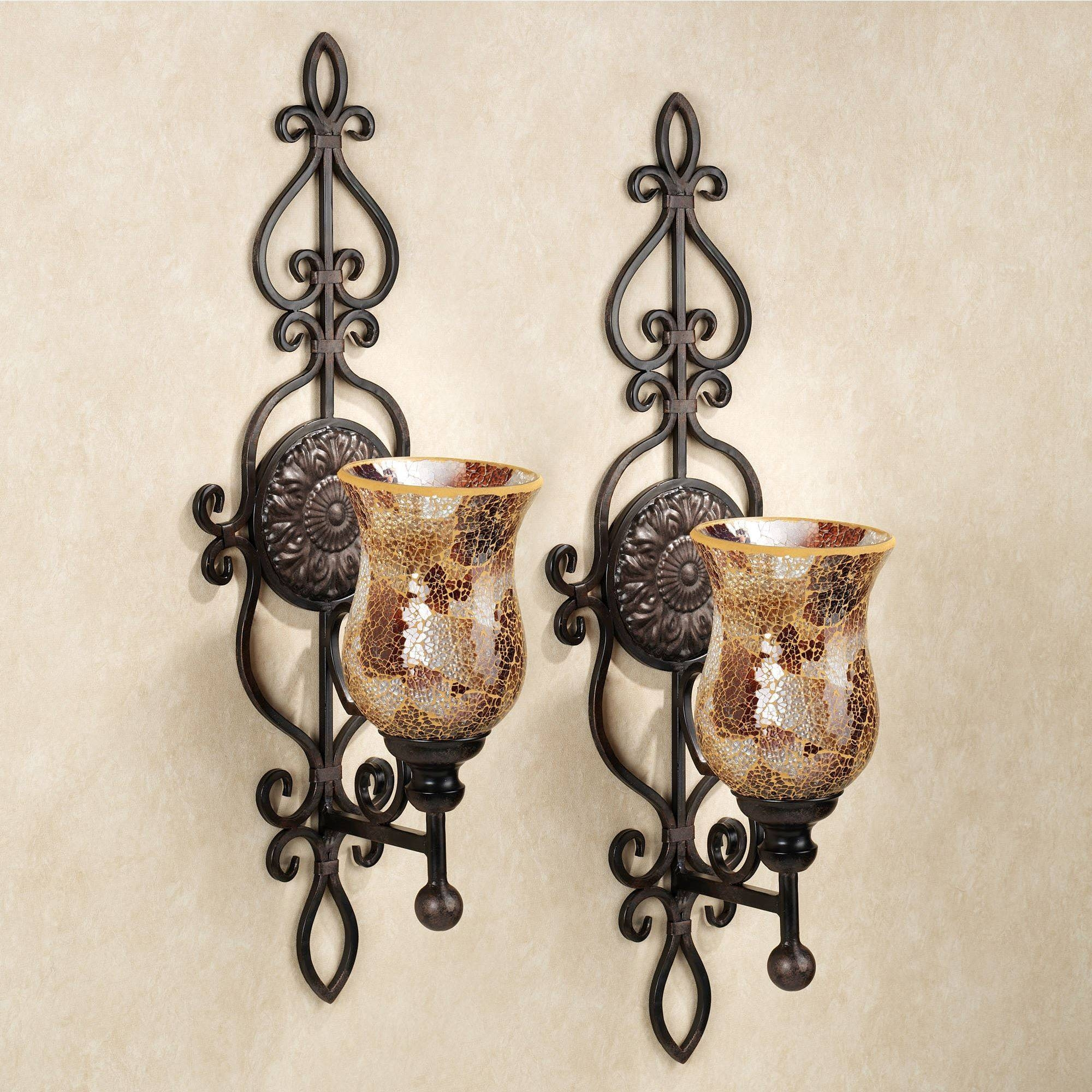 Leyanna Mosaic Aged Brown Wall Sconce Pair Inside Most Popular Metal Wall Art Candle Holder (View 11 of 20)