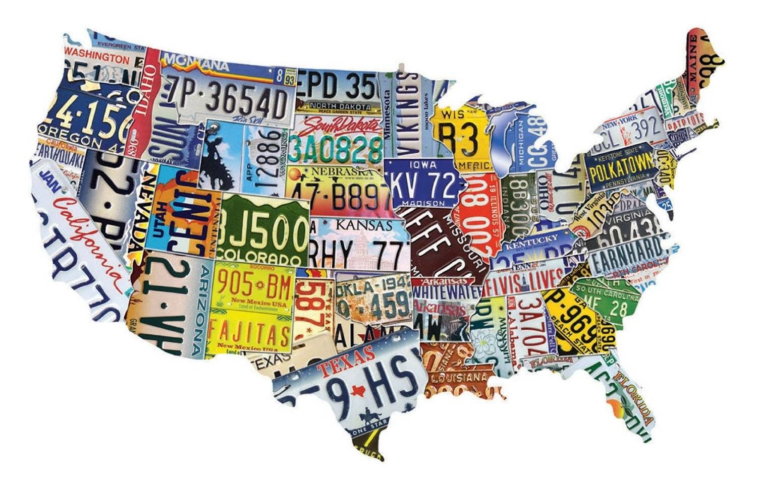 License Plate Map Usa 35 X 21 Inch Plasma Cut Metal Art Sign (View 11 of 20)
