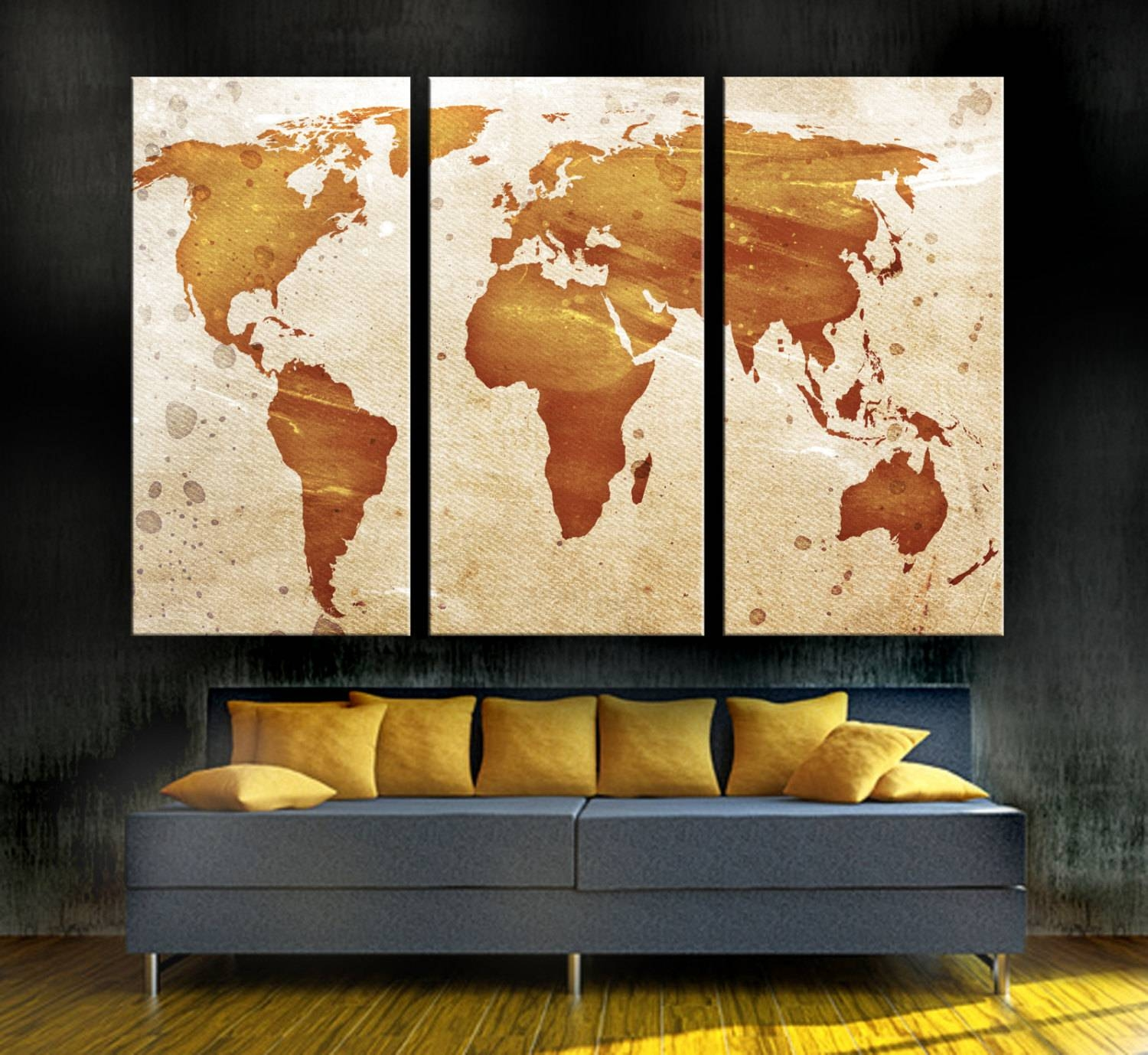 Light Orange World Map Canvas Print 3 Panel Split Triptych (View 8 of 20)