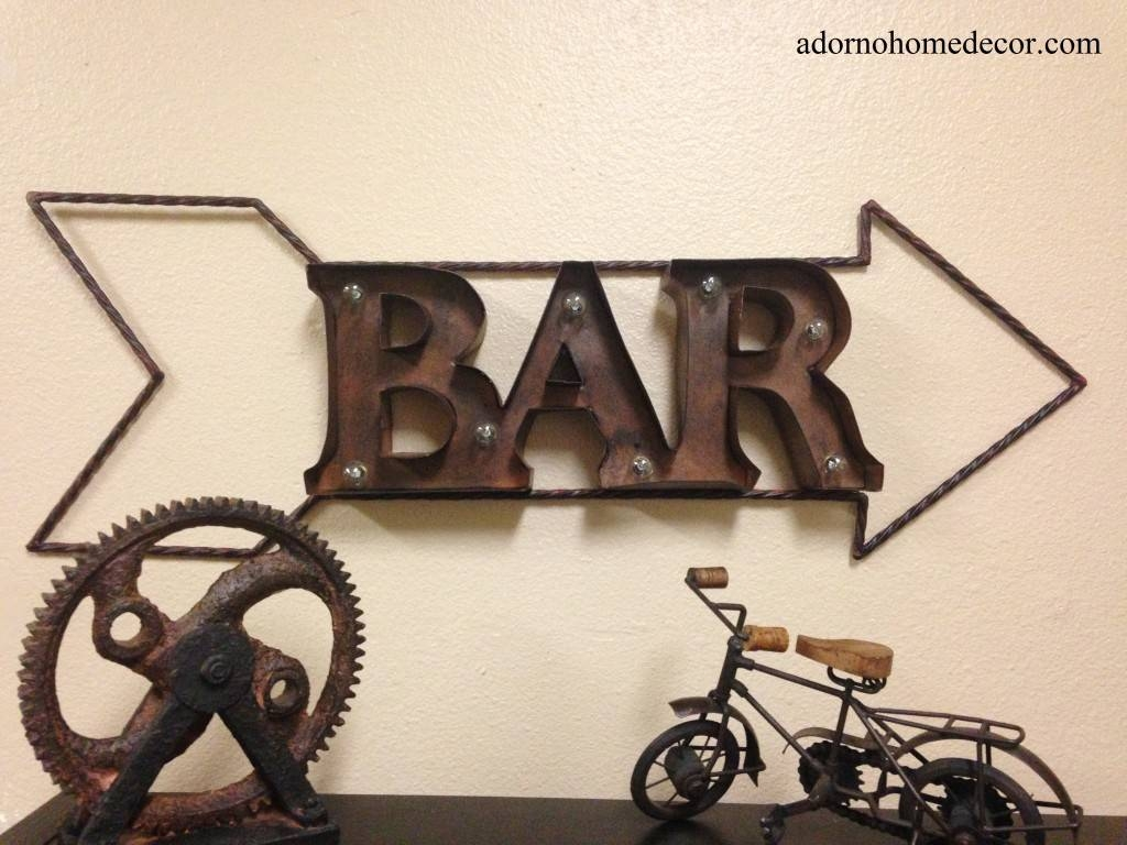 Lighted Marquee Rustic Metal Bar Sign Wall Decor Arrow Industrial Inside Recent Rustic Metal Wall Art (View 7 of 20)