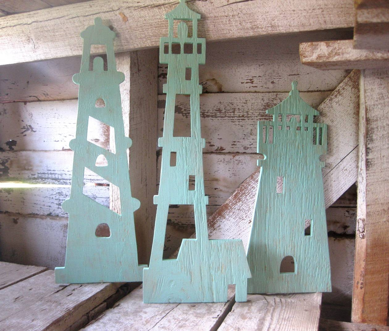 Lighthouse Trio Wood Lighthouse Wall Art Beach Decor Inside Recent Lighthouse Metal Wall Art (View 15 of 20)