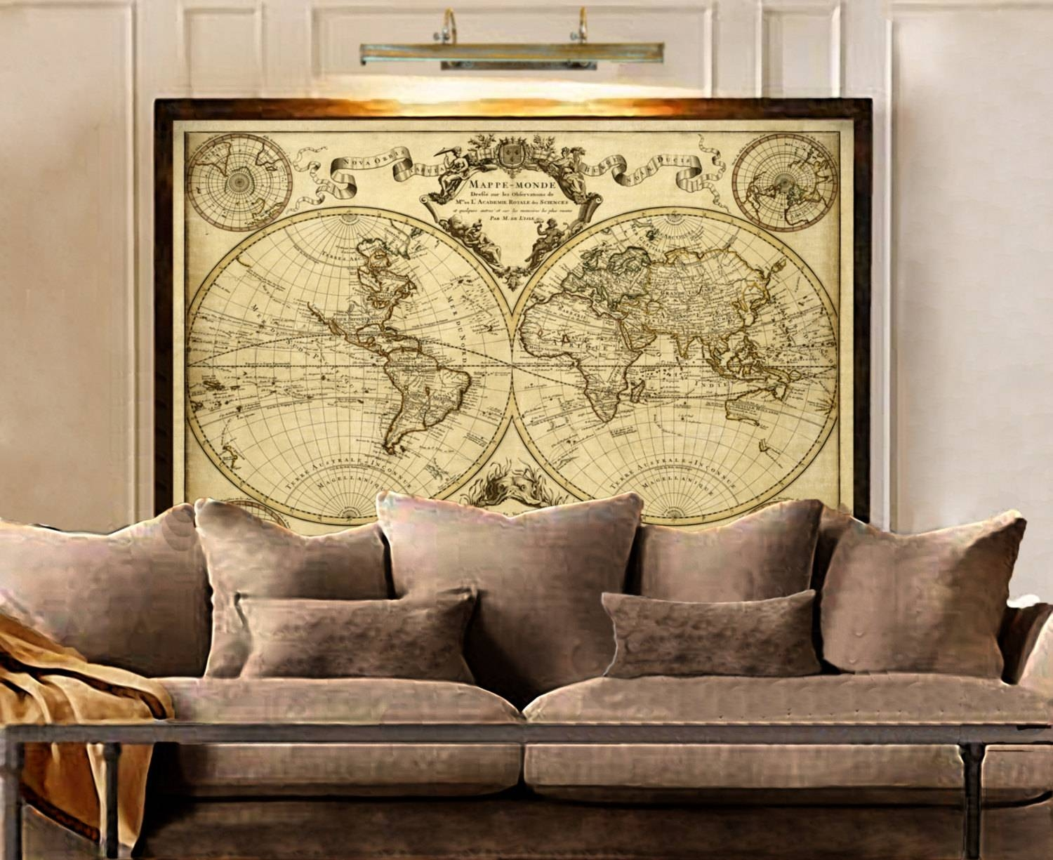 L'isle's 1720 Old World Map Historic Map Antique Style Inside 2017 World Map Wall Art Framed (View 7 of 20)
