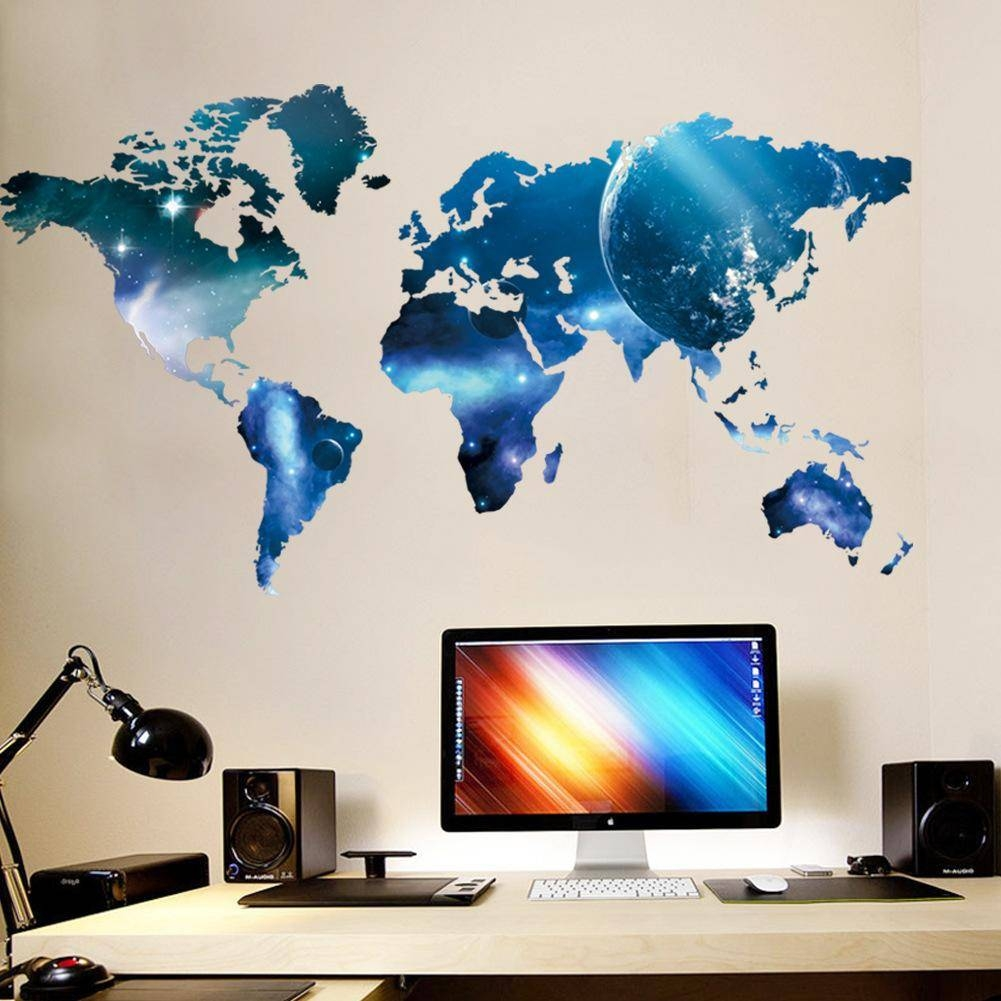 Living Bedroom Wall Art Mural Decor Sticker Blue Planet World Map For Newest World Map Wall Art (View 12 of 20)