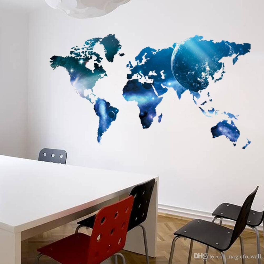 Living Bedroom Wall Art Mural Decor Sticker Blue Planet World Map Intended For Latest World Map Wall Art (View 8 of 20)