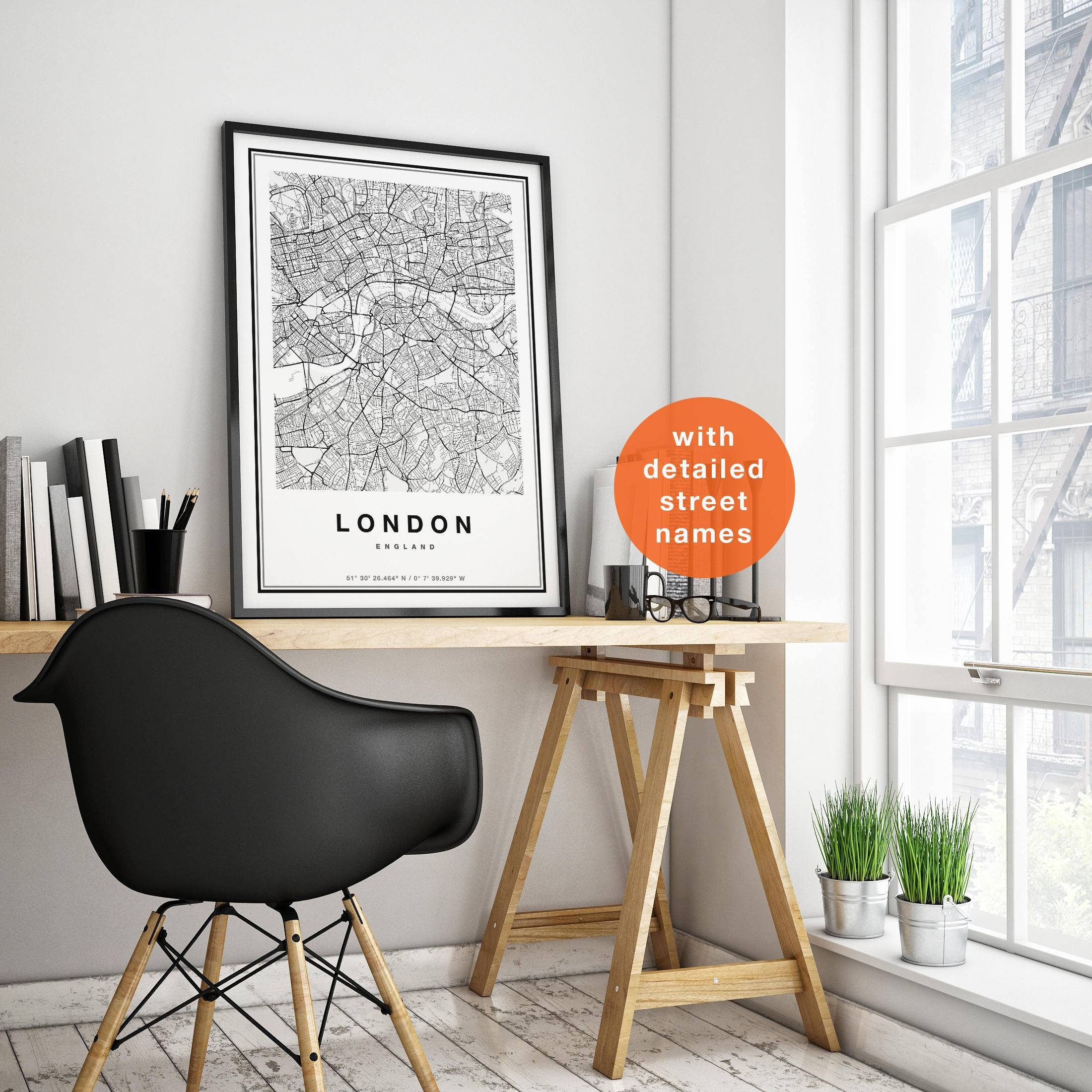 London Map London City Map London Print Map Of London With Most Up To Date City Map Wall Art (View 7 of 20)