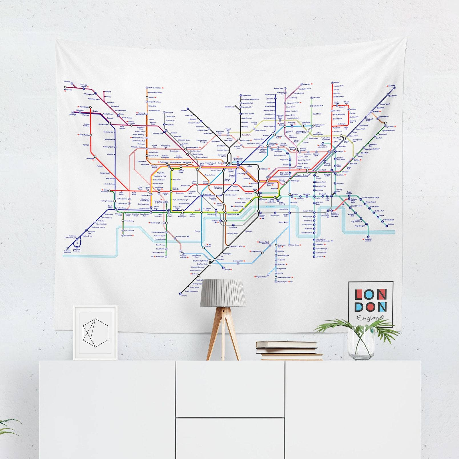 London Tapestry London Tube Map Wall Tapestry London Wall Pertaining To Most Up To Date Tube Map Wall Art (View 5 of 20)