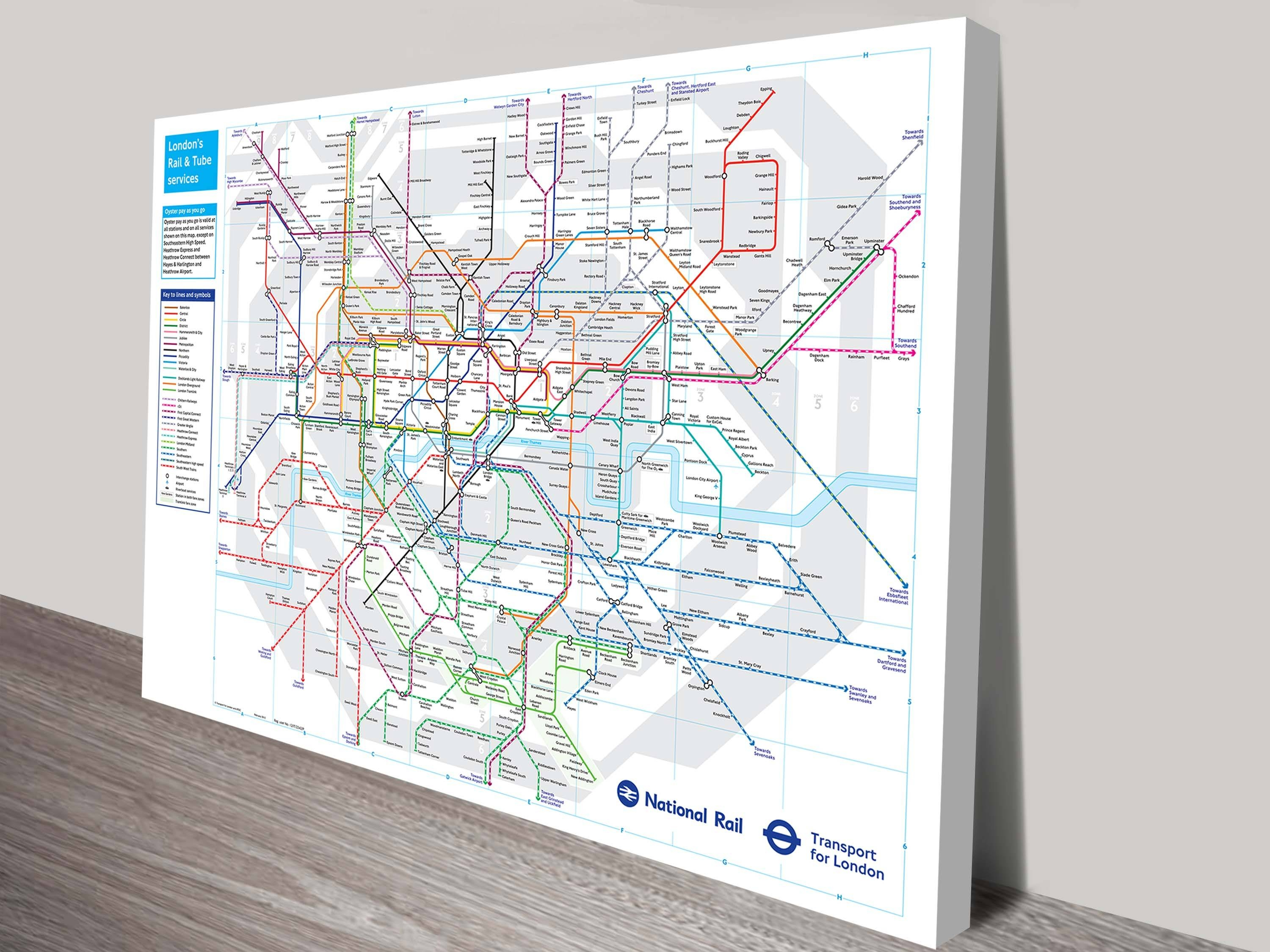 London Underground Tube Map Canvas Wall Art Inside Current London Tube Map Wall Art (View 13 of 20)