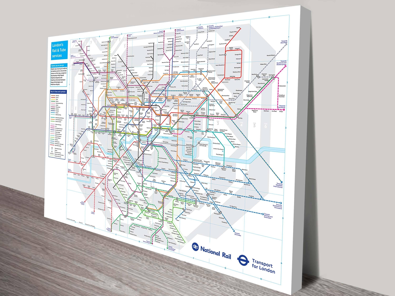 London Underground Tube Map Canvas Wall Art inside Current London Tube Map Wall Art