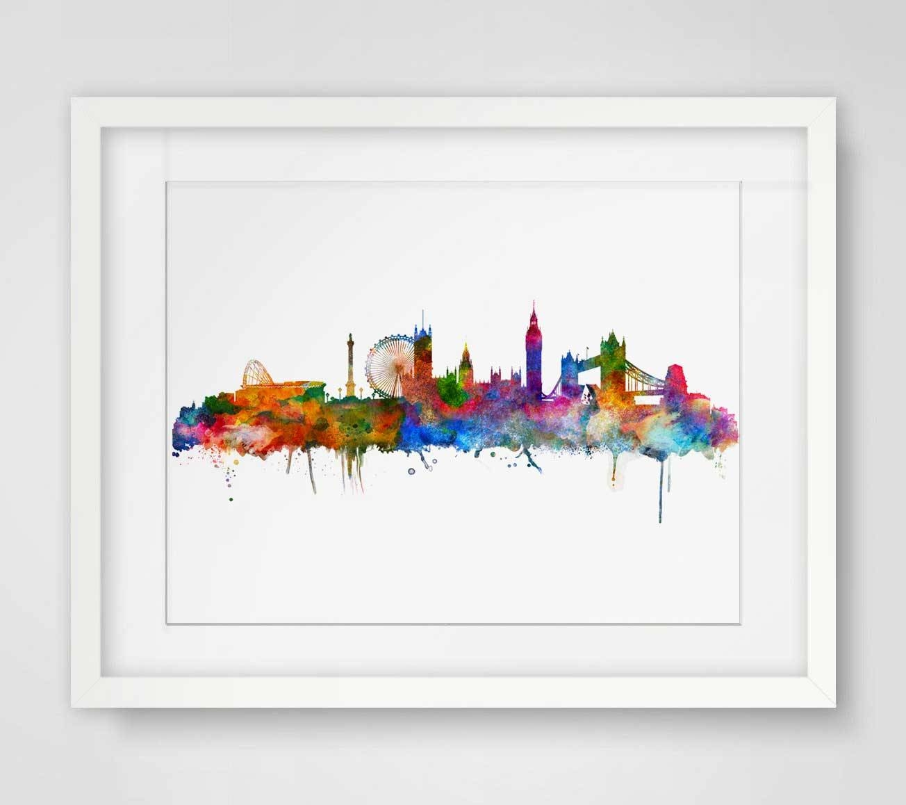 London Watercolor Skyline City Poster Map Wall Art Skyline Poster Inside Most Recently Released City Map Wall Art (View 8 of 20)