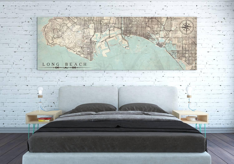 Long Beach Canvas Print California Ca Vintage Map Long Beach Regarding 2018 City Map Wall Art (View 9 of 20)