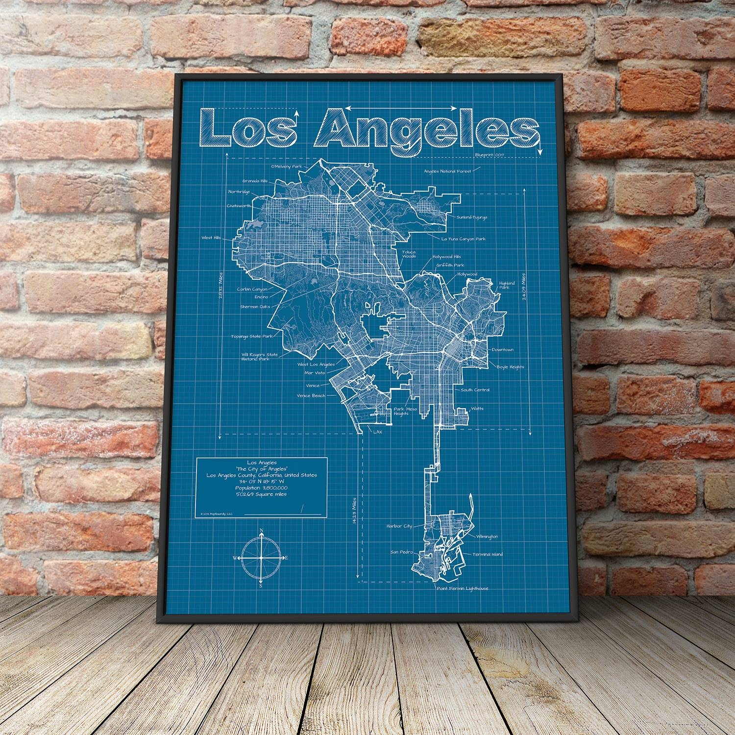 Los Angeles Map / Original Artwork / Los Angeles Map Art / With Most Popular Street Map Wall Art (View 12 of 20)