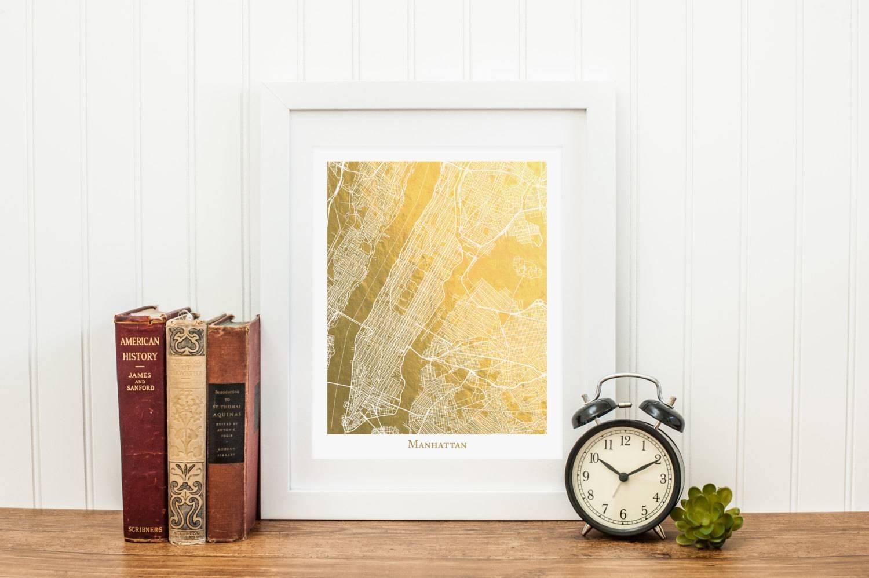 Manhattan Map Manhattan Gold Foil Map™ Map Print Gold Foil For Most Current Manhattan Map Wall Art (View 13 of 20)