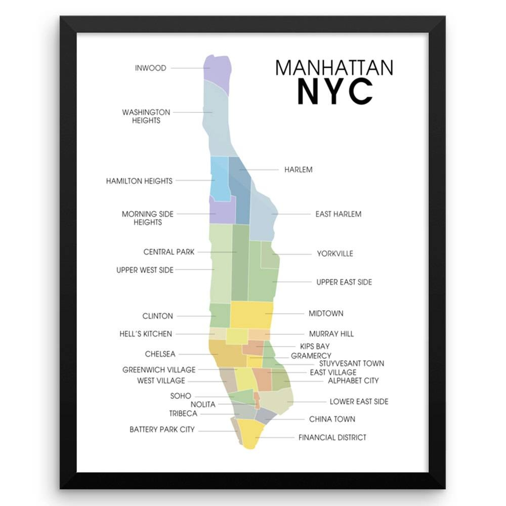 Manhattan Map Wall Art Print | The Pixel Prince With 2017 Manhattan Map Wall Art (View 3 of 20)