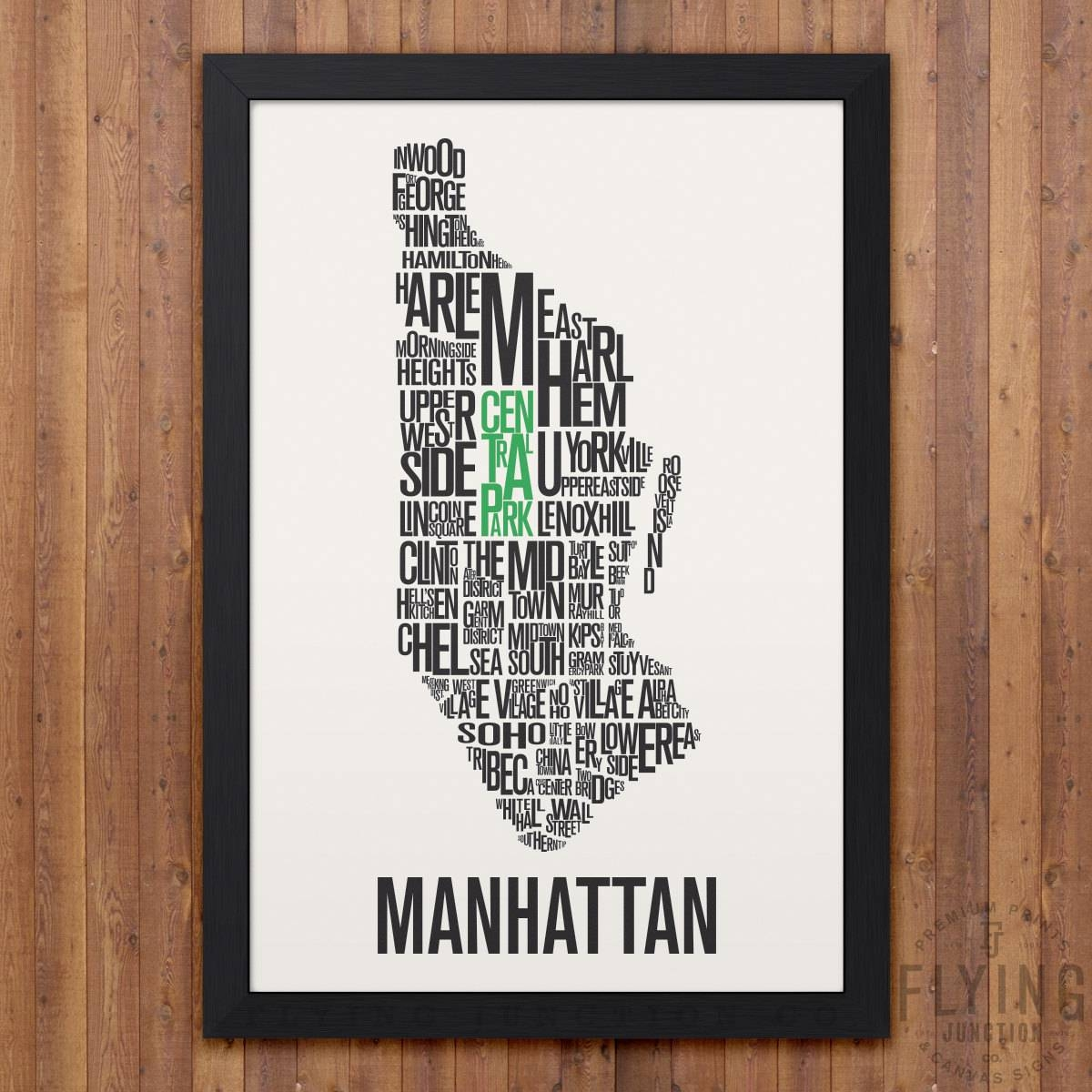 Manhattan New York City Typography Map Print Intended For Most Popular Manhattan Map Wall Art (View 2 of 20)