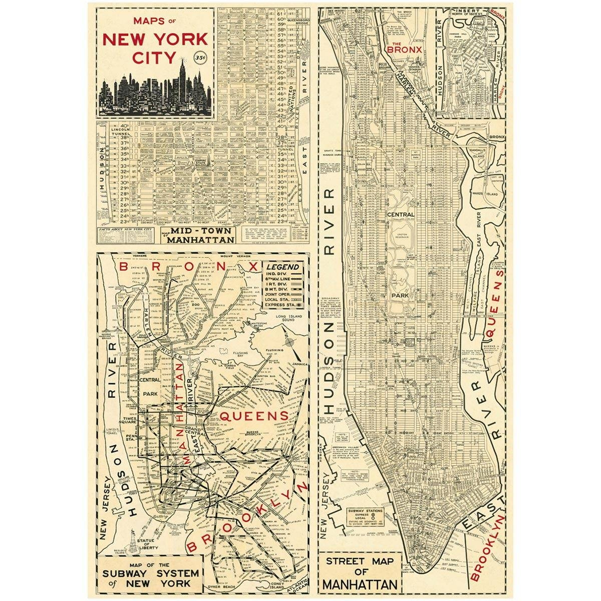 Manhattan Poster New York Street Map | Vintage Style Paper Intended For Current Nyc Subway Map Wall Art (View 5 of 20)