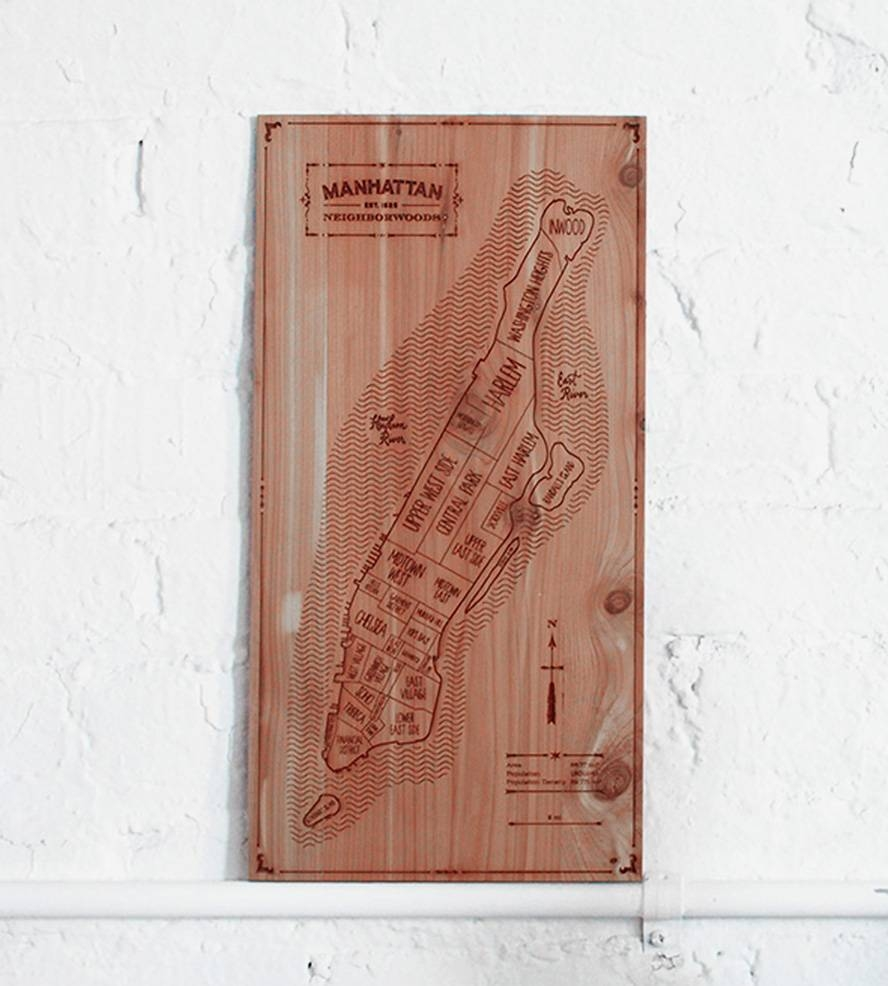 Manhattan Wood Map | Art Art Pieces | Neighborwoods | Scoutmob Pertaining To Current Manhattan Map Wall Art (View 12 of 20)