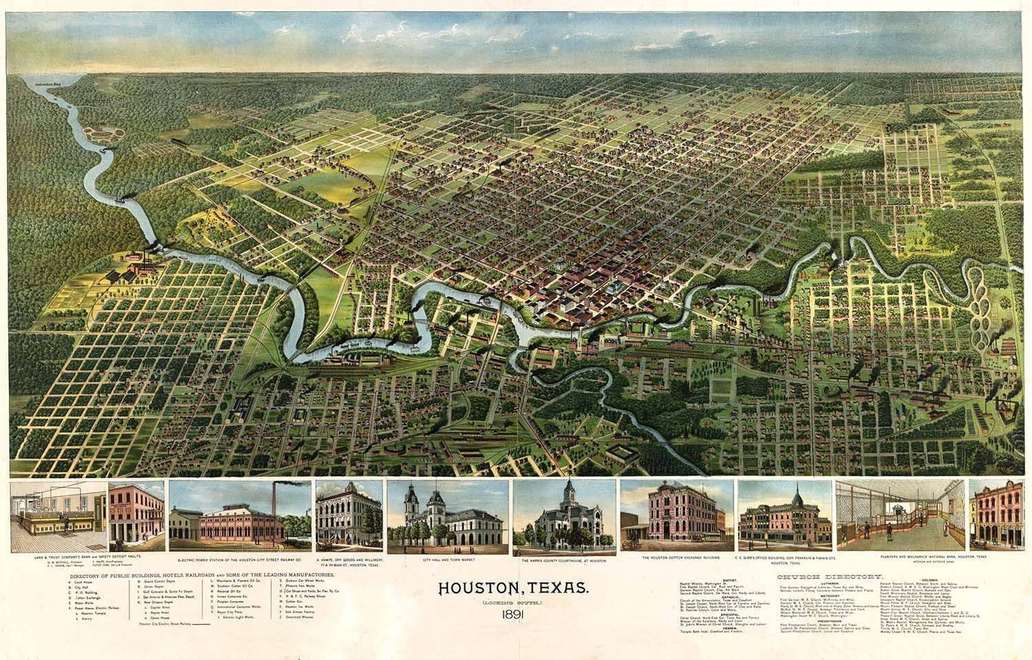 Map Houston Texas 1891 Vintage Large Wall Art Print Poster Picture For Most Popular Houston Map Wall Art (View 12 of 20)