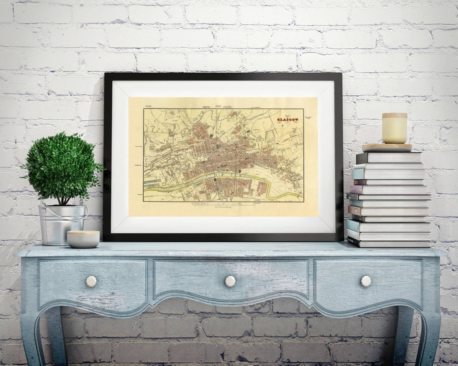 Map Of Glasgow Scotland Old Map Wall Map Scotland Antique Map Regarding Most Recent Large Map Wall Art (View 8 of 20)