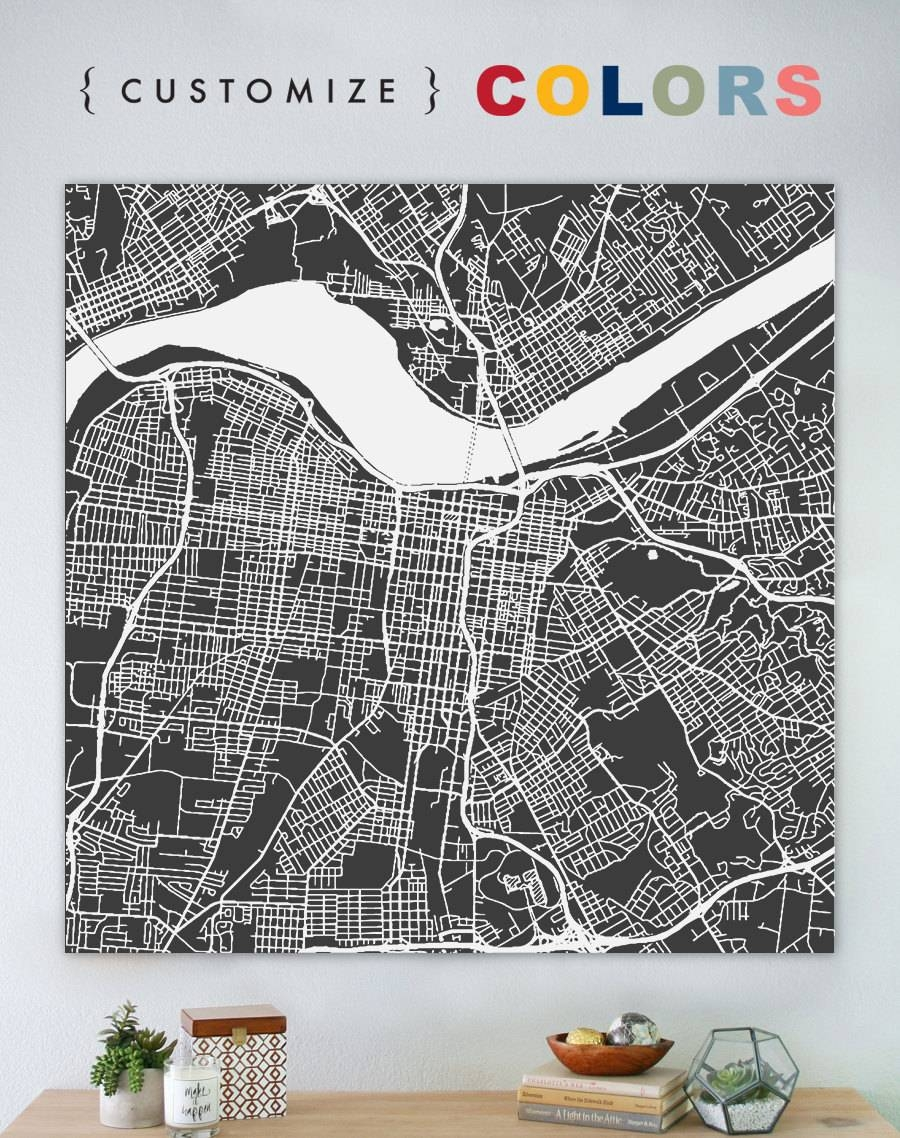 Map Of Louisville Large Canvas City Maps Street Map In Most Up To Date Street Map Wall Art (View 15 of 20)