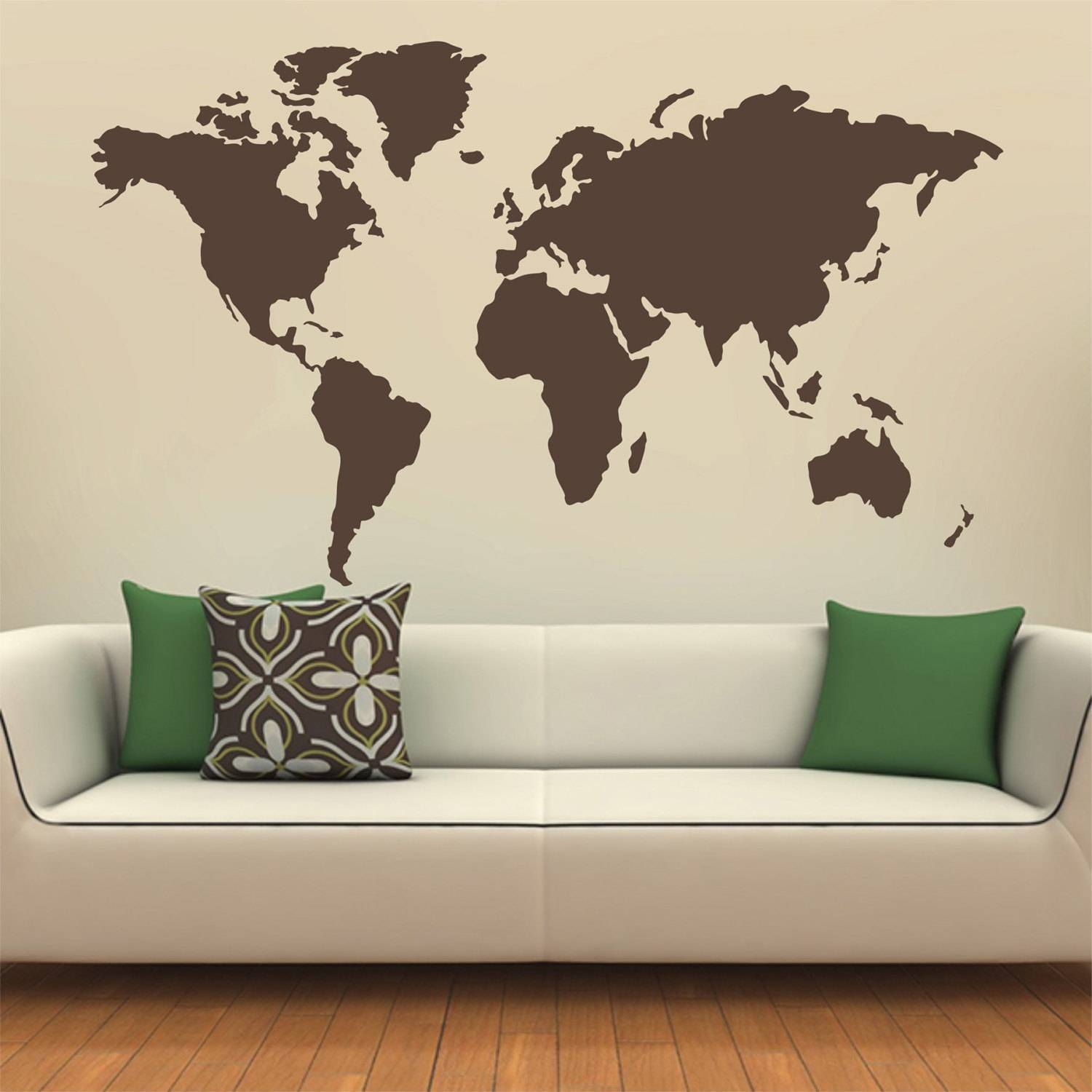 Map Of The World Silhouette Wall Decal Globe Wall Decal Wall with Best and Newest World Map Wall Art Stickers