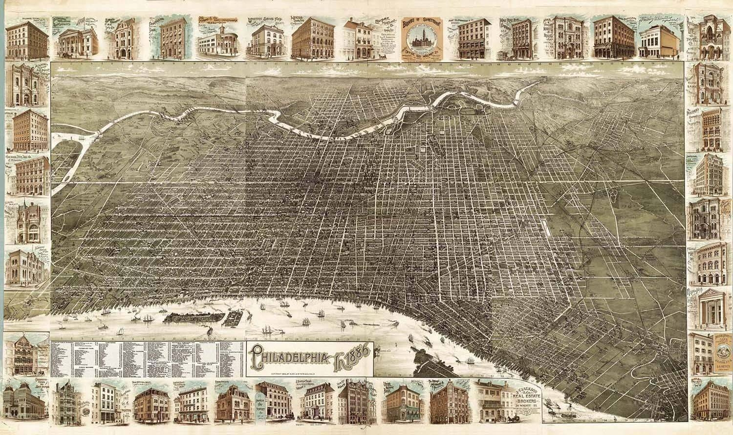Map Philadelphia 1886 Vintage Large Wall Art Print Poster Picture Inside Most Recently Released Philadelphia Map Wall Art (View 6 of 20)