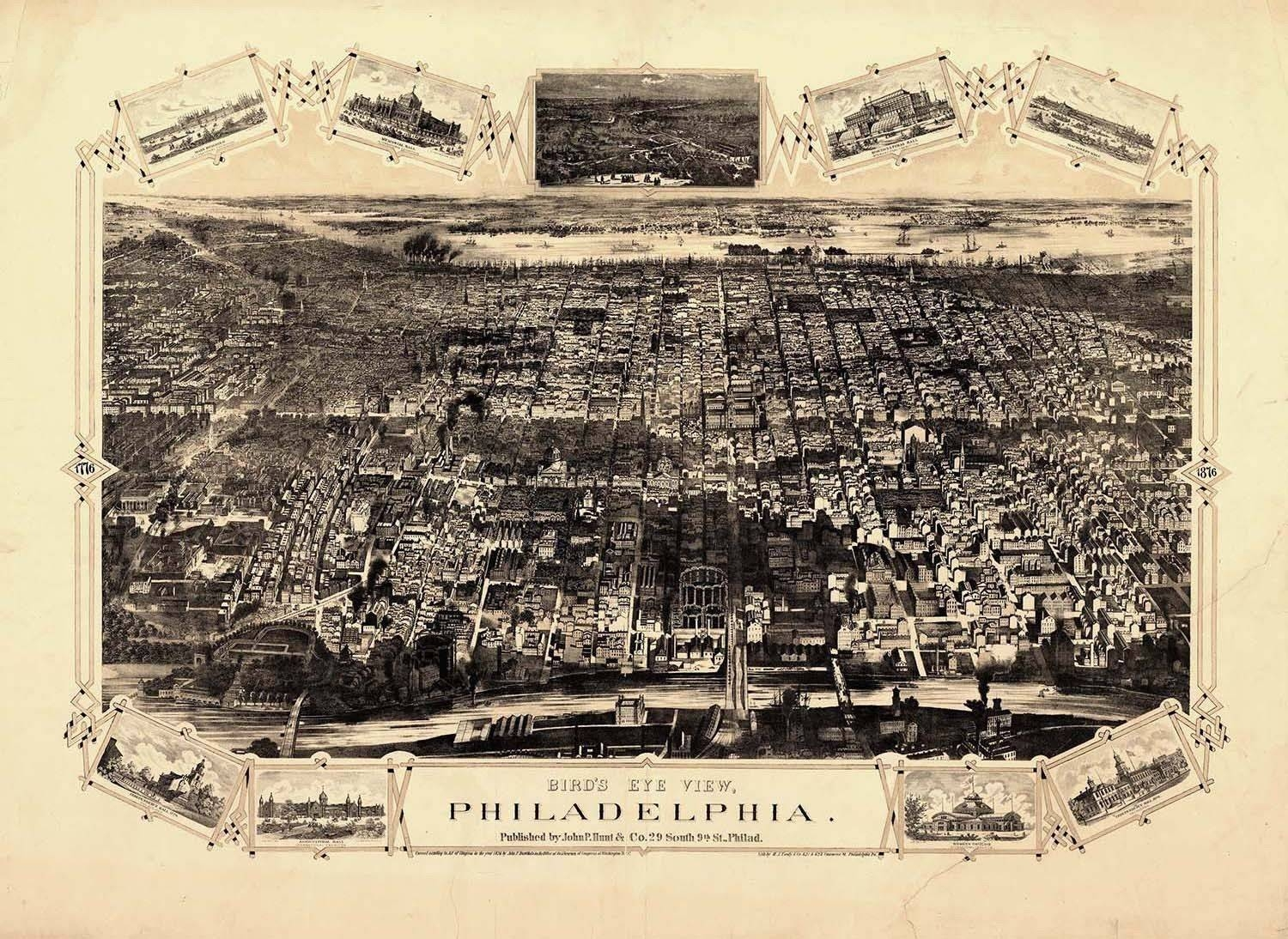 Map Philadelphia Birds Eye Vintage Large Wall Art Print Poster Intended For Most Recent Philadelphia Map Wall Art (View 7 of 20)