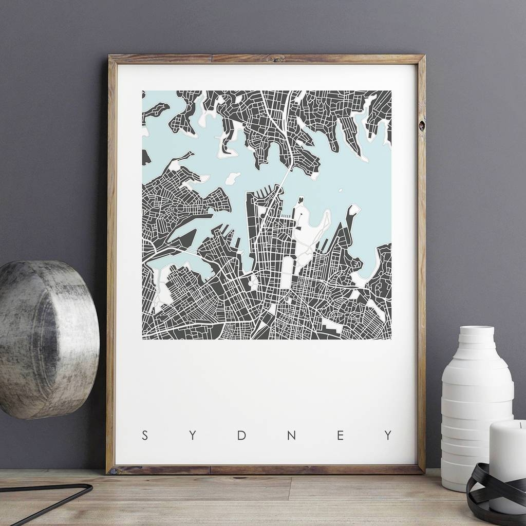 Map Print Of Sydney Limited Editionbronagh Kennedy – Art Pertaining To Most Popular City Prints Map Wall Art (View 16 of 20)
