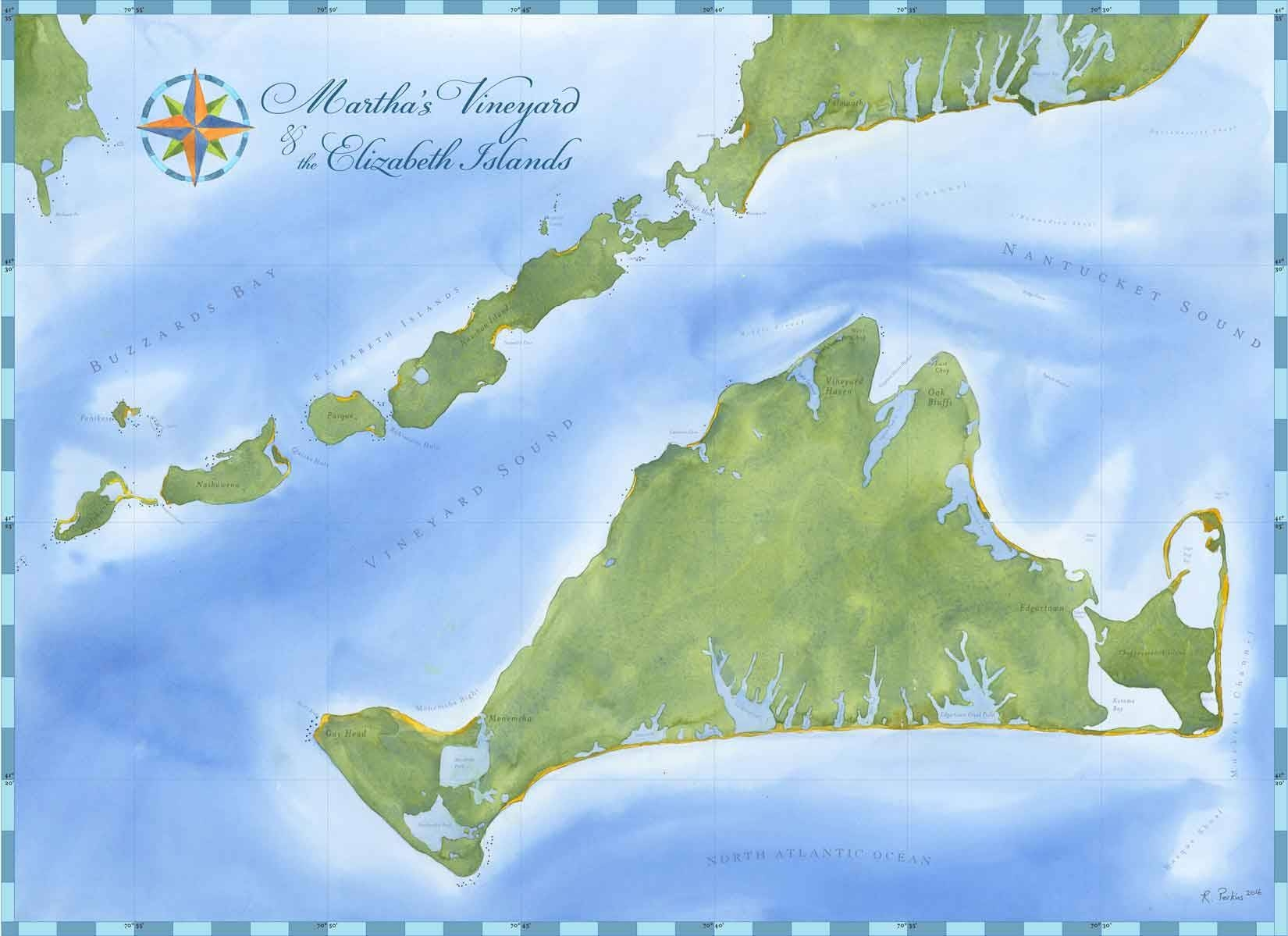 Martha's Vineyard Nautical Chart Wall Art | My Custom Chart For Most Current Nautical Map Wall Art (View 8 of 20)