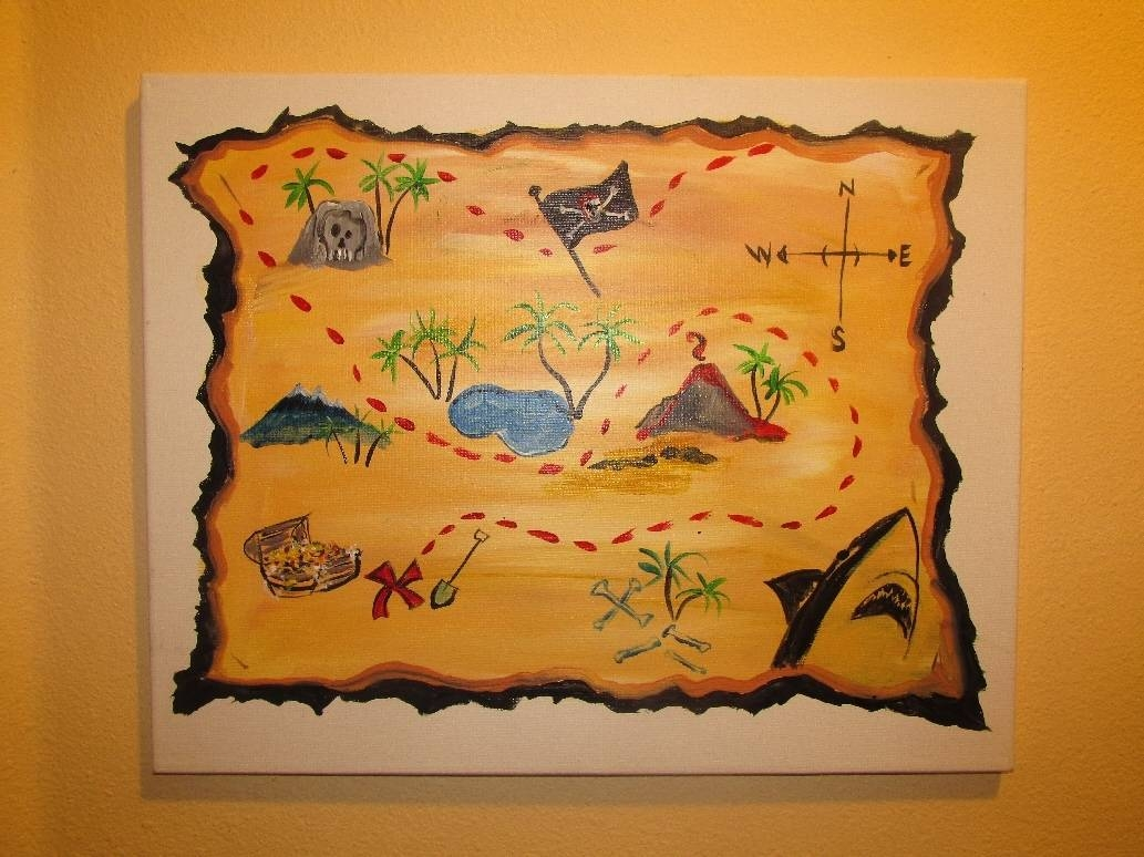 Matey's Treasure Map Intended For Most Popular Treasure Map Wall Art (View 3 of 20)