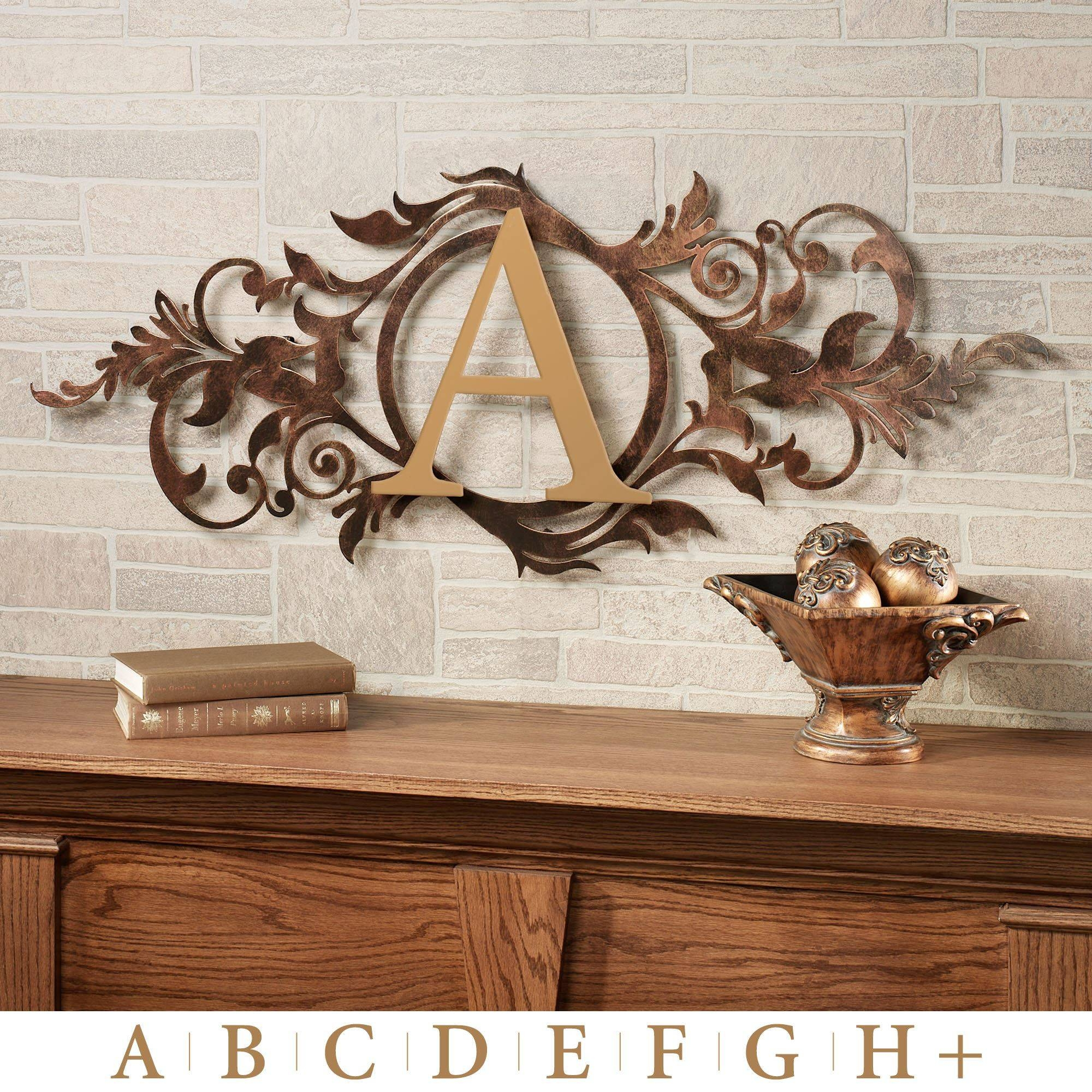 Meglynn Monogram Horizontal Metal Wall Art Sign With Regard To Current Gold Metal Wall Art (View 10 of 20)