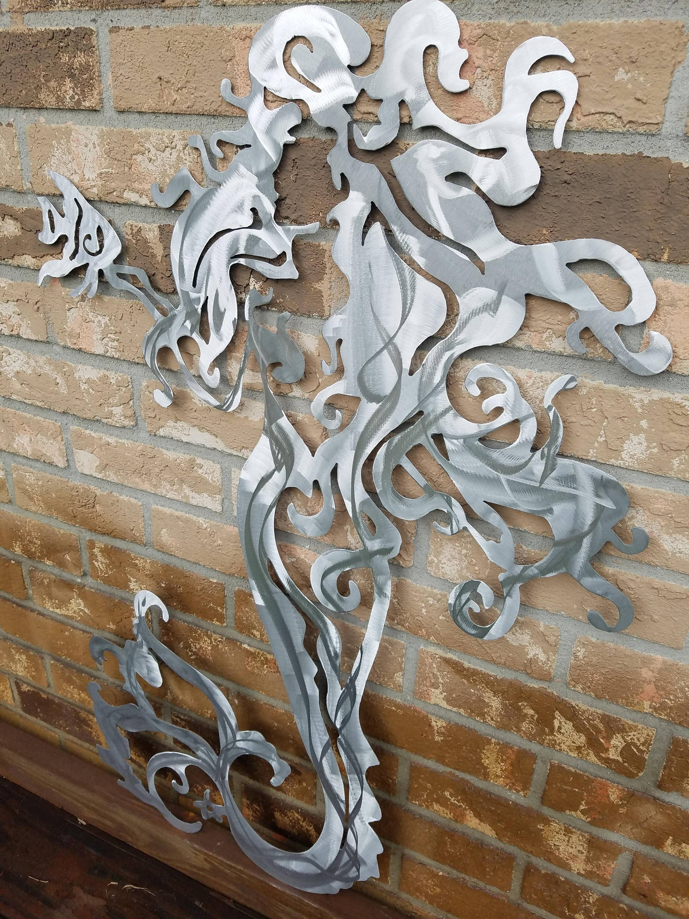 Mermaid Metal Wall Art, Aluminum Mermaid, Metal Mermaid, Fish Pertaining To Current Mermaid Metal Wall Art (View 13 of 20)