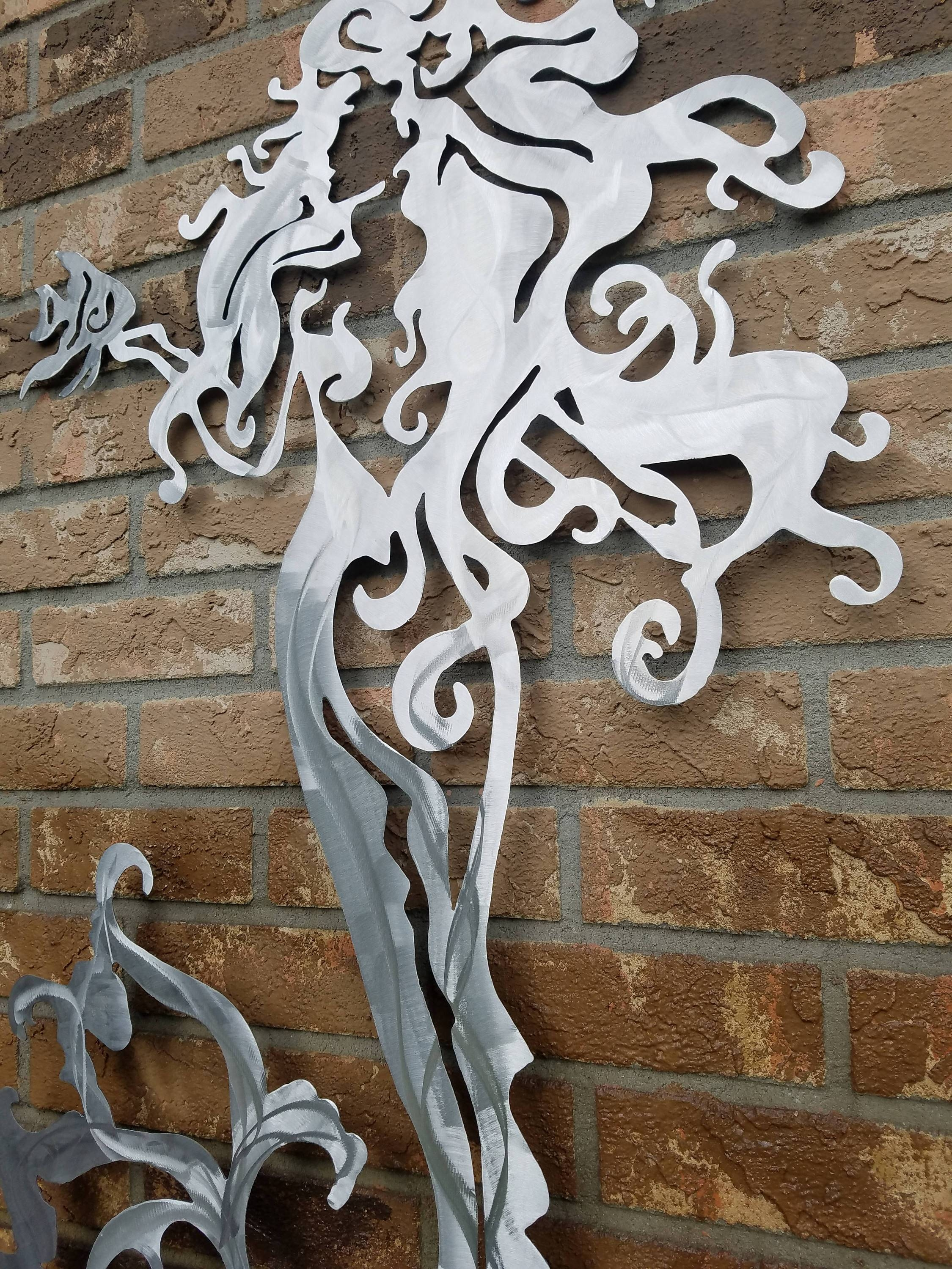 Mermaid Metal Wall Art, Aluminum Mermaid, Metal Mermaid, Fish Regarding Most Recent Mermaid Metal Wall Art (View 13 of 20)